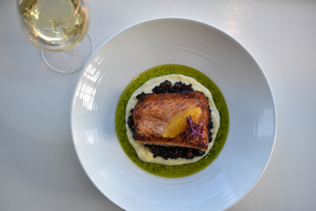 A salmon dish from View Restaurant in Oakdale.