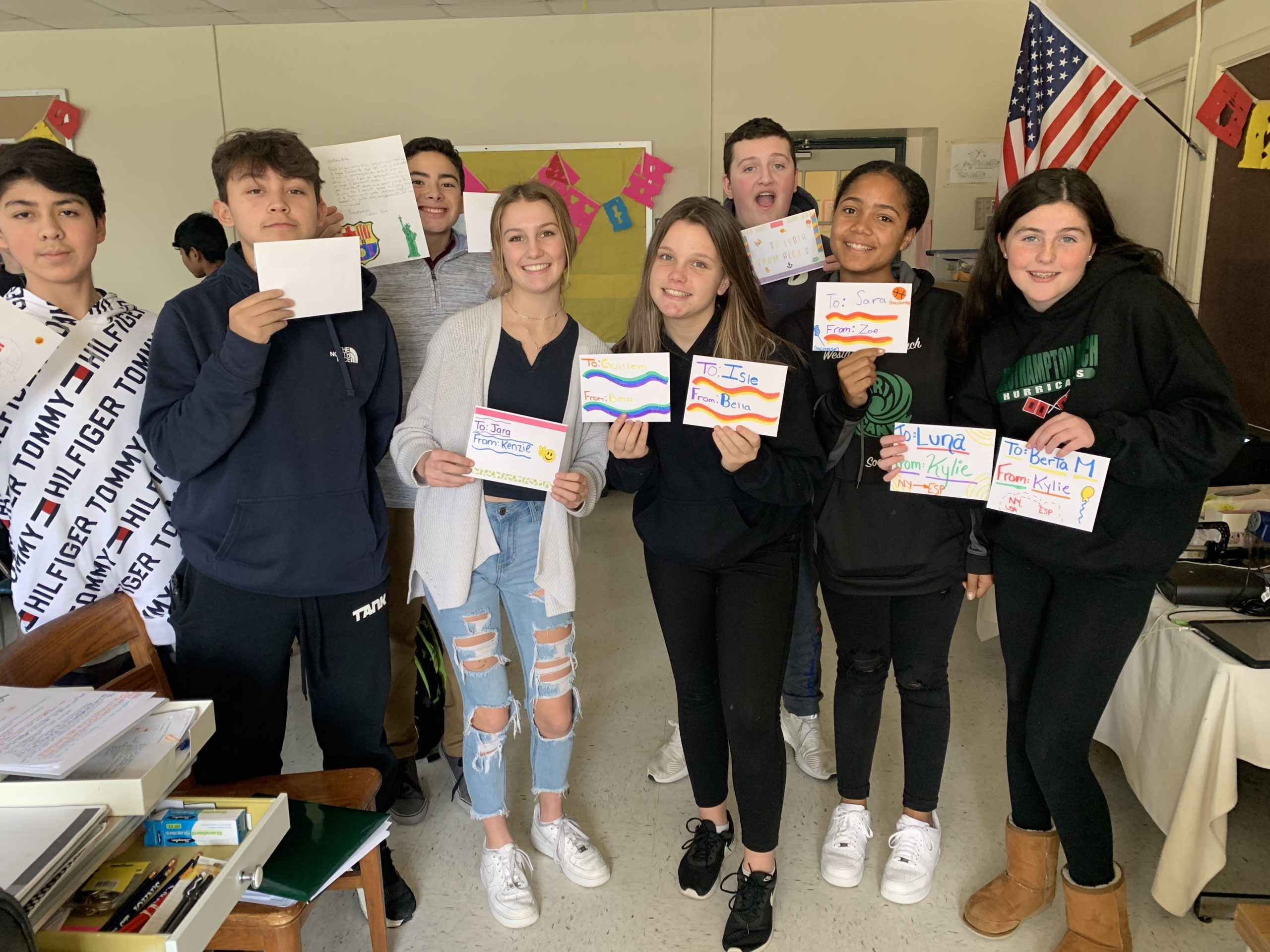 To provide her Spanish language students with an opportunity to make international connections and put the language they are learning to use, Spanish teacher Marica Illiano started a pen pal project. For the project, all 60 of her Spanish 2 students at Westhampton Beach Middle School have been writing letters to students studying English in Barcelona.