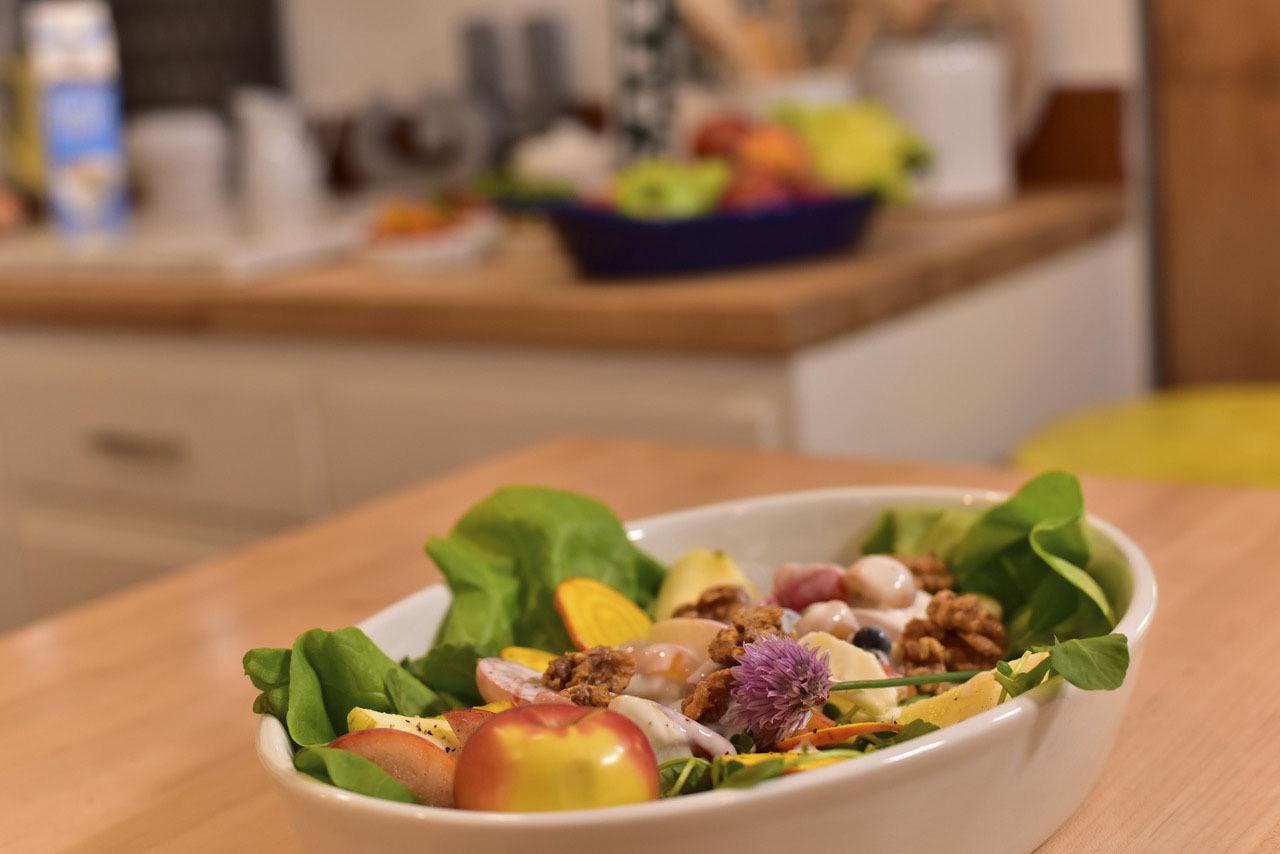 Chef George's Waldorf Salad in the kitchen studio.