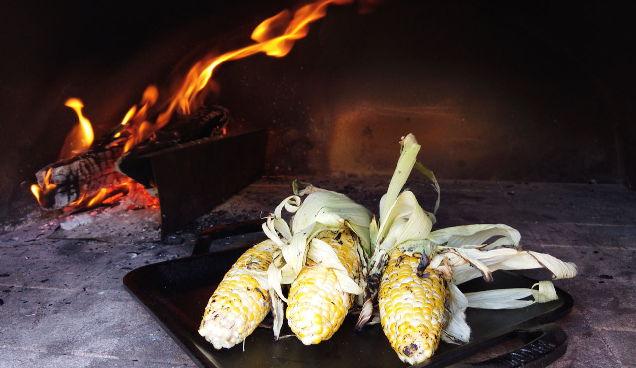 Chef George's wood oven roasted corn.