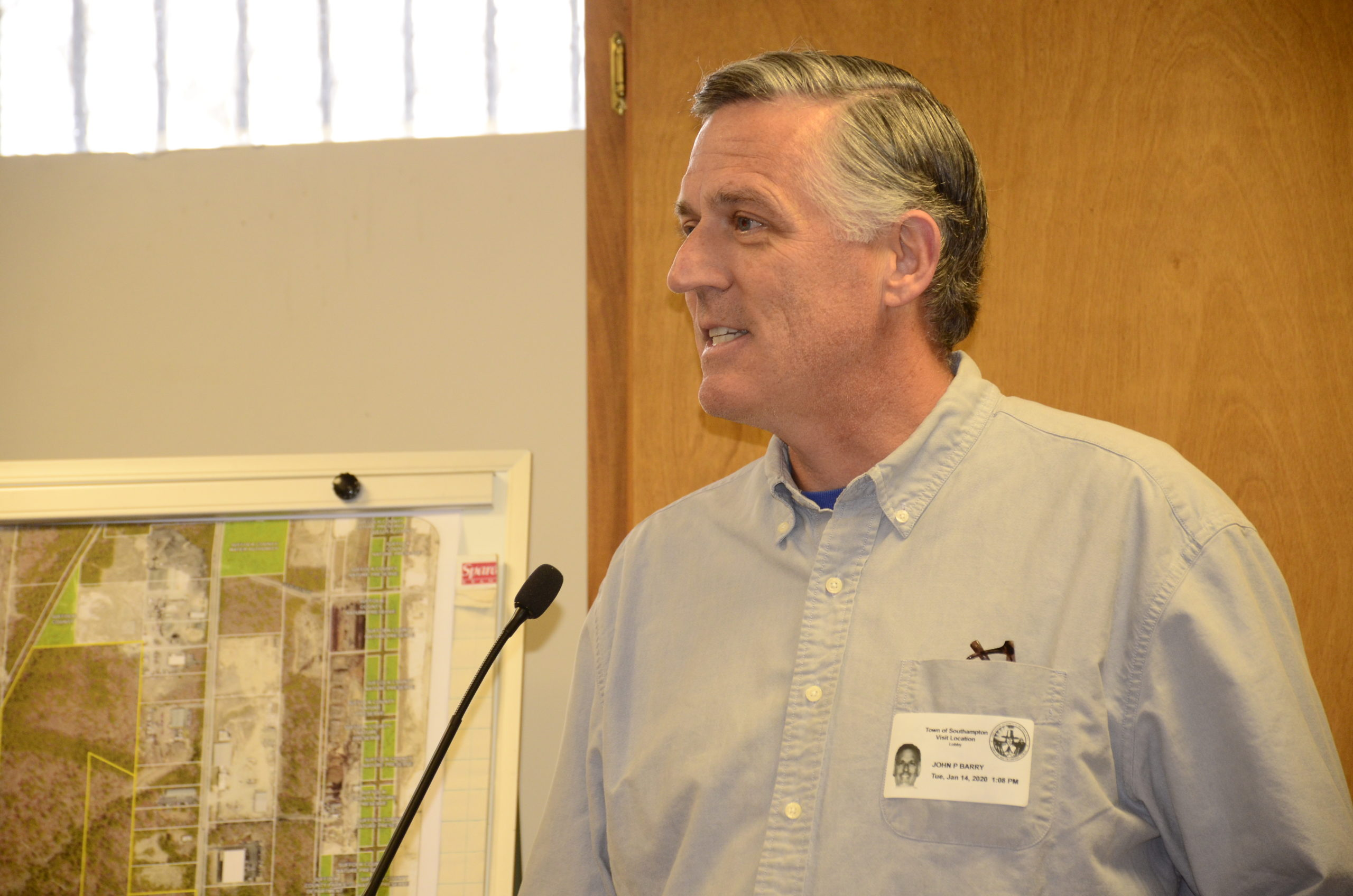 John Barry addressed the town board Tuesday afternoon regarding the 160-acre land parcel in Speonk being considered for CPF.