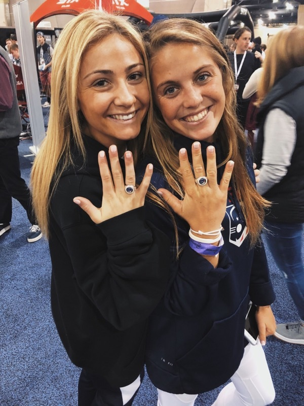 Isabelle Smith with U.S. Lacrosse teammate Caitlyn Wurzburger.