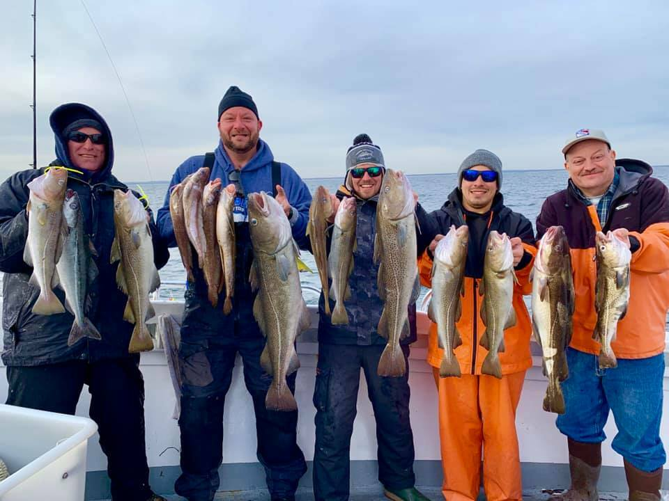 The fares aboard the Hampton Lady got in a good day of cod fishing last week out of Hampton Bays. Calm seas this week bode well for the hot winter fishing to continue.
