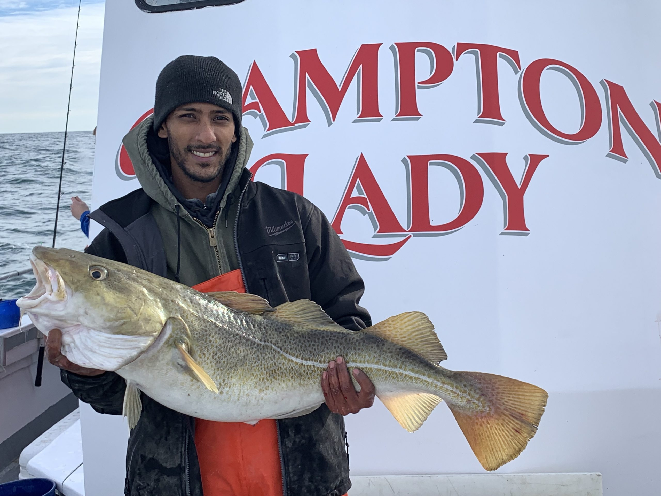 Sean Lochan boated this large codfish while fishing aboard the Hampton Lady last week.