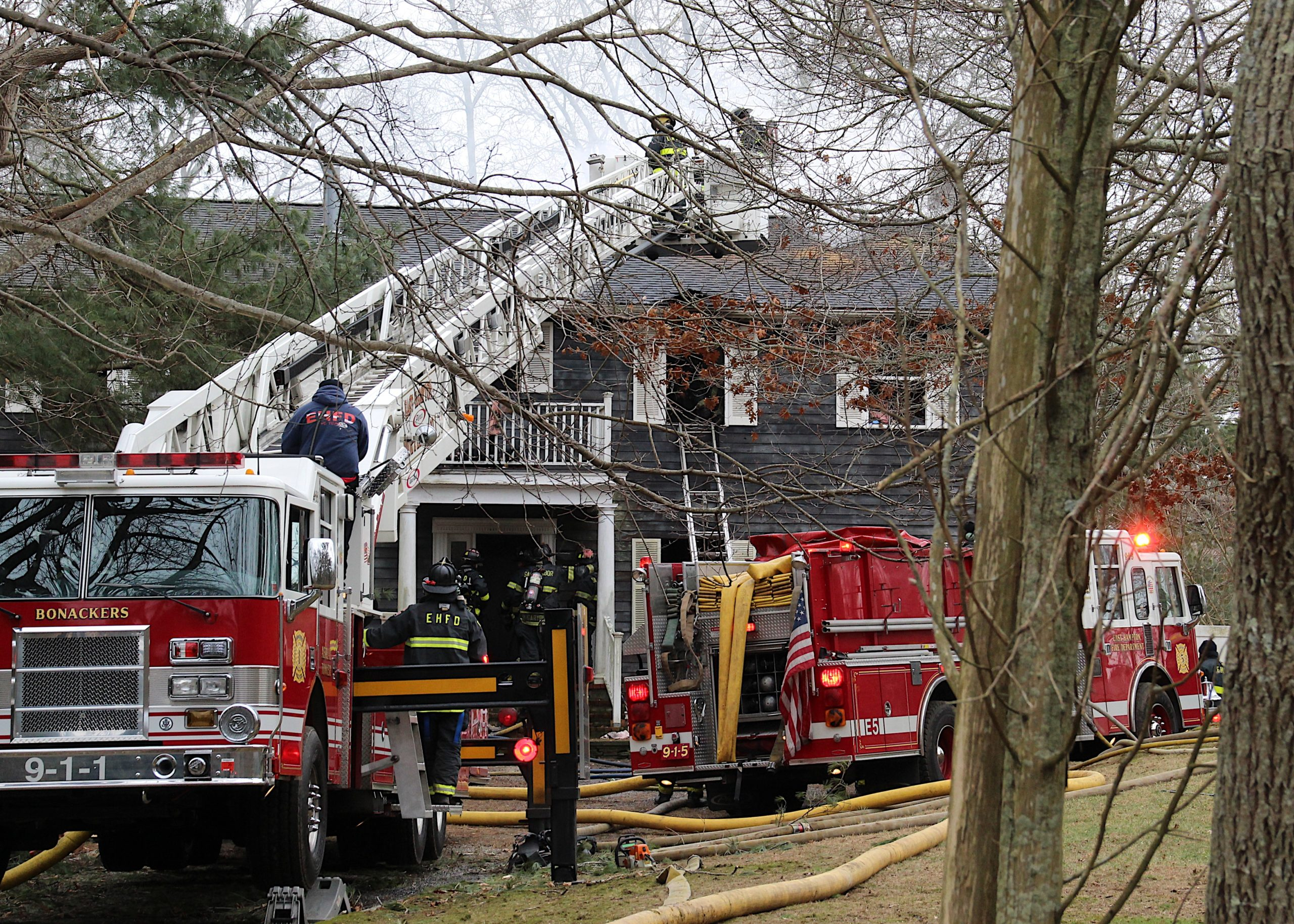 Firefighters battled a fire that broke out in a house on Cove Hollow Road on Saturday, made particularly complicated by the amount of stored items that were stuffed into the house.