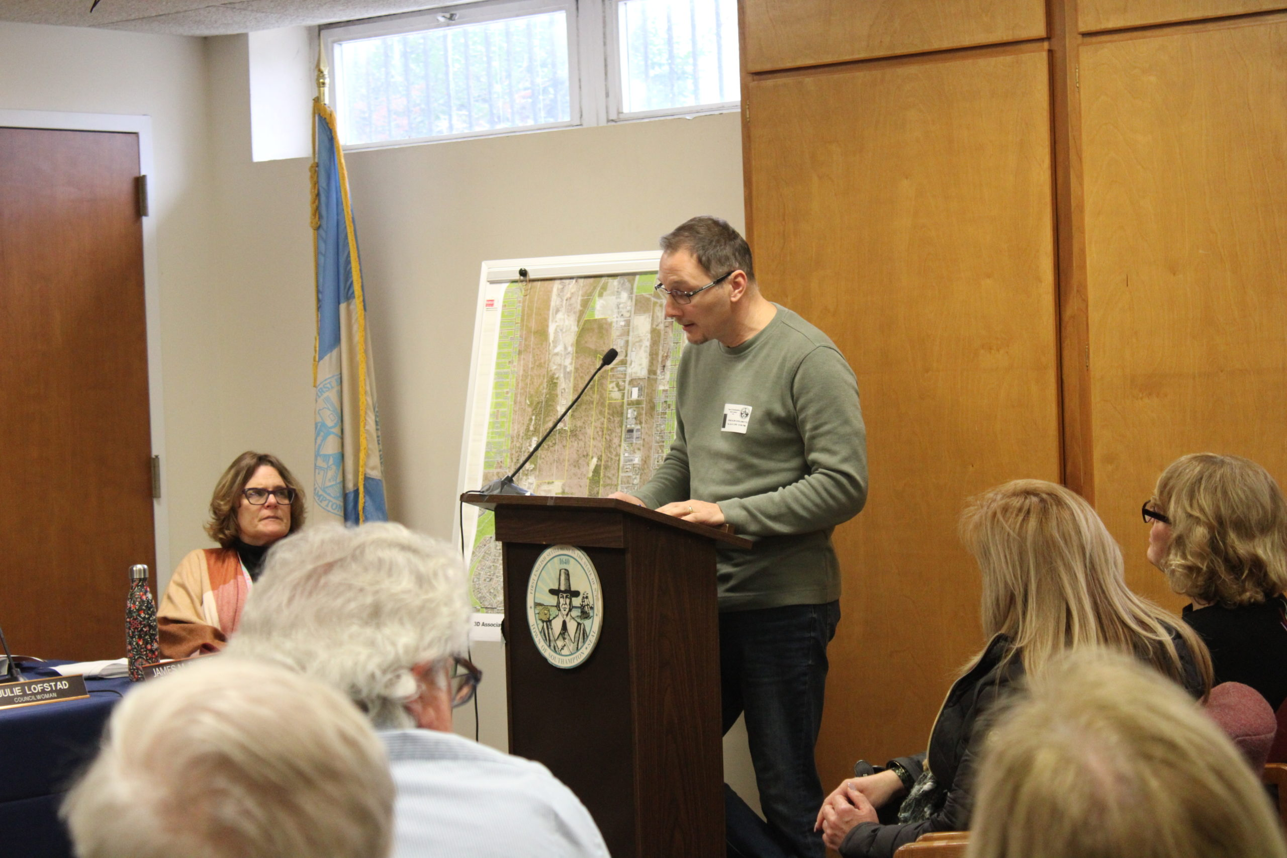 Criag Catalanotto, Co-Chair of the Speonk-Remsenburg CAC and CPF Advisory Board member adressing the Southampton Town Board on Tuesday.