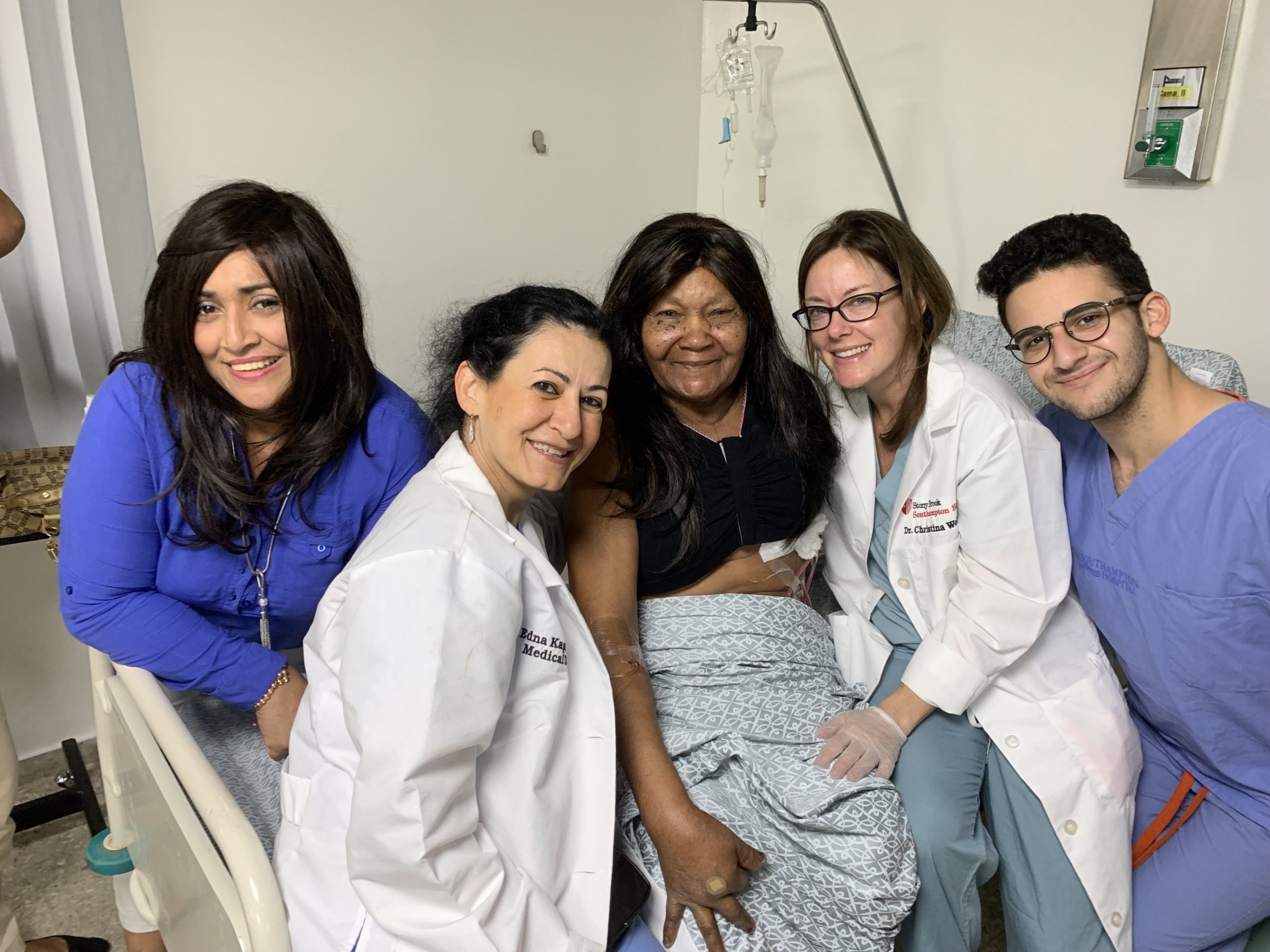 The 2019 team, from left: Meriz Yliana Guzman Cabrera, patient navigator; Dr. Edna Kapenhas; an unnamed patient; Christina Wolchok, surgical resident; and Michael Valdes. courtesy Edna Kapenhas, MD