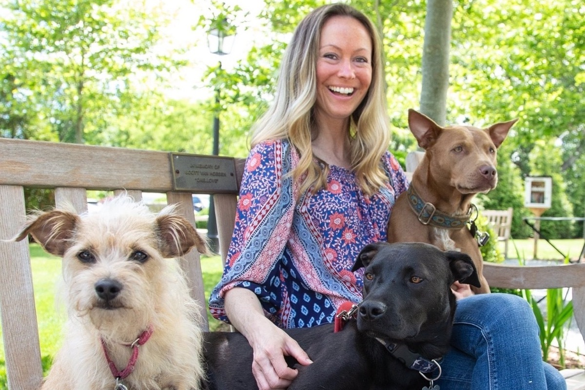 Meghan Bozek and her three dogs.