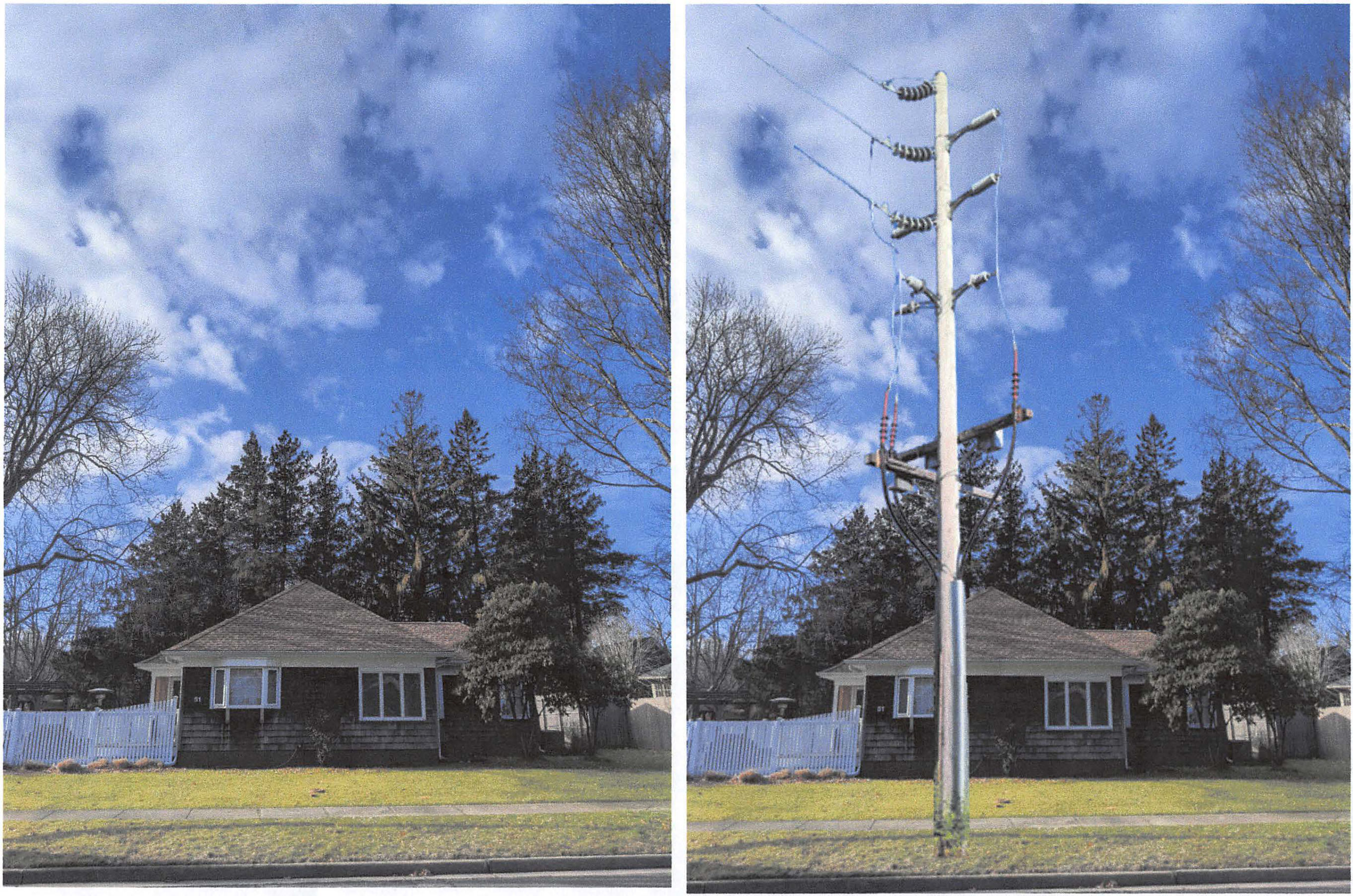 A rendering of what the riser pole in front of the Ujvaris' home would look like, according to their attorney.