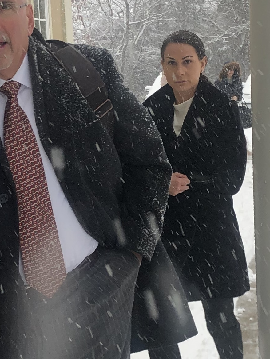 Lisa Rooney arriving in East Hampton Town Justice Court in December.