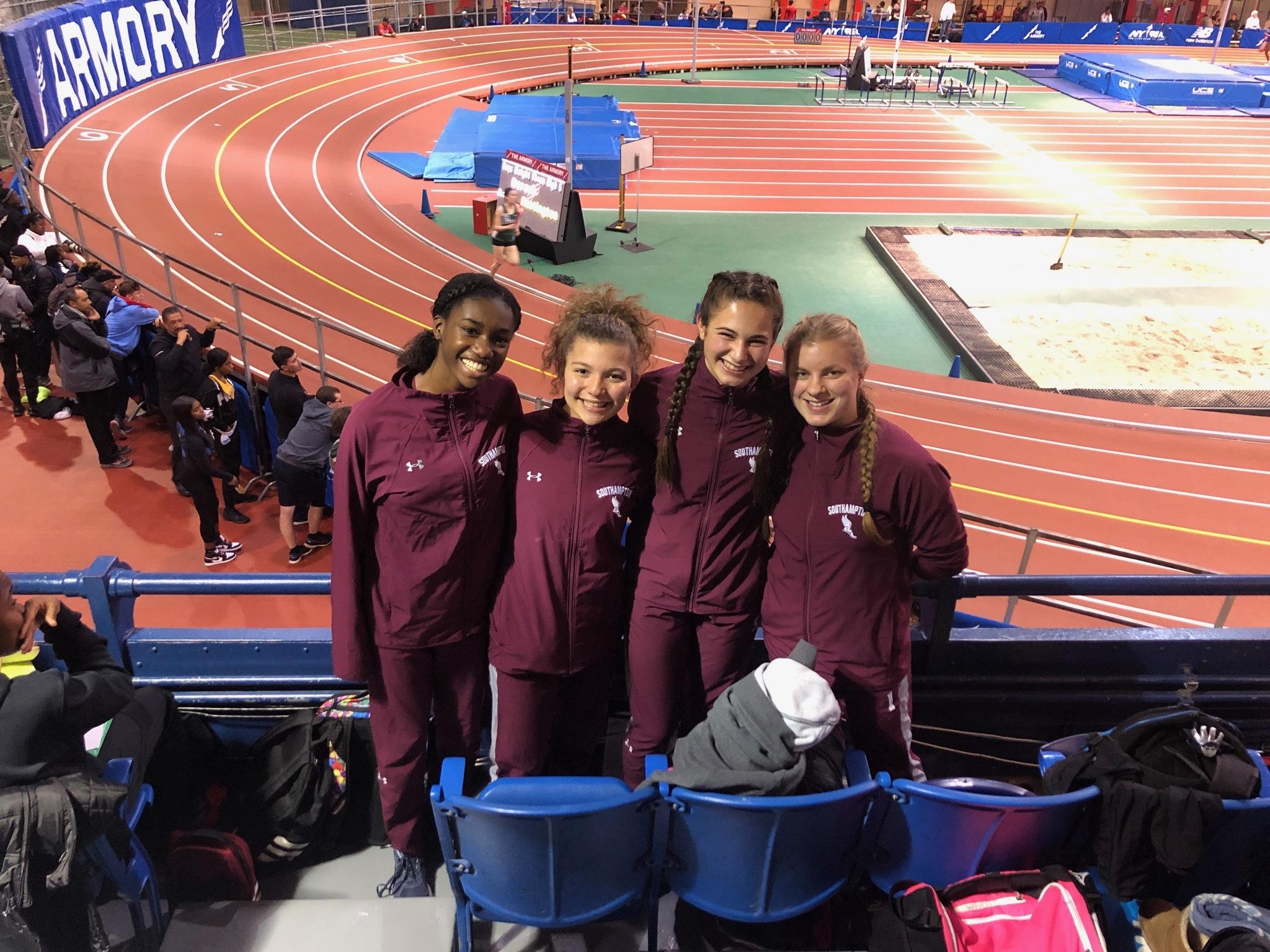 Southampton 4x400-meter relay team of Dreanne Joseph, Gabriella Arnold, Amanda Mannino and Rebekah Morirtz set a new school record at the Millrose Games last week.
