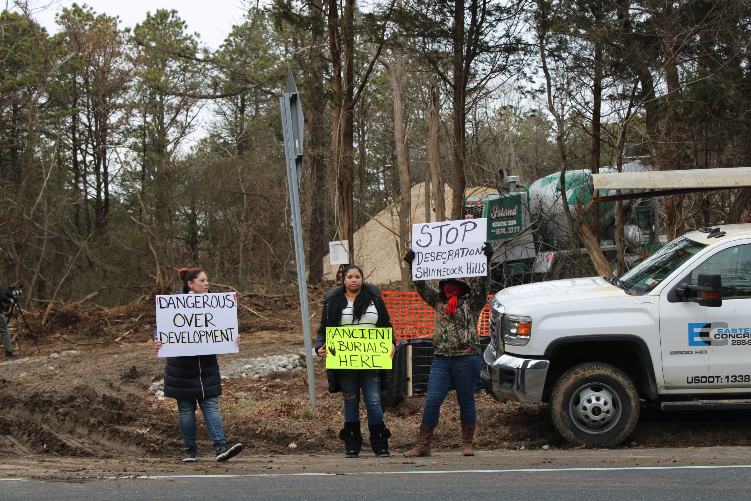 Shinnecock Tribal Members protest in front of a property being built on Montauk Highway in Shinnecock Hills that is said to have ancient human remains.