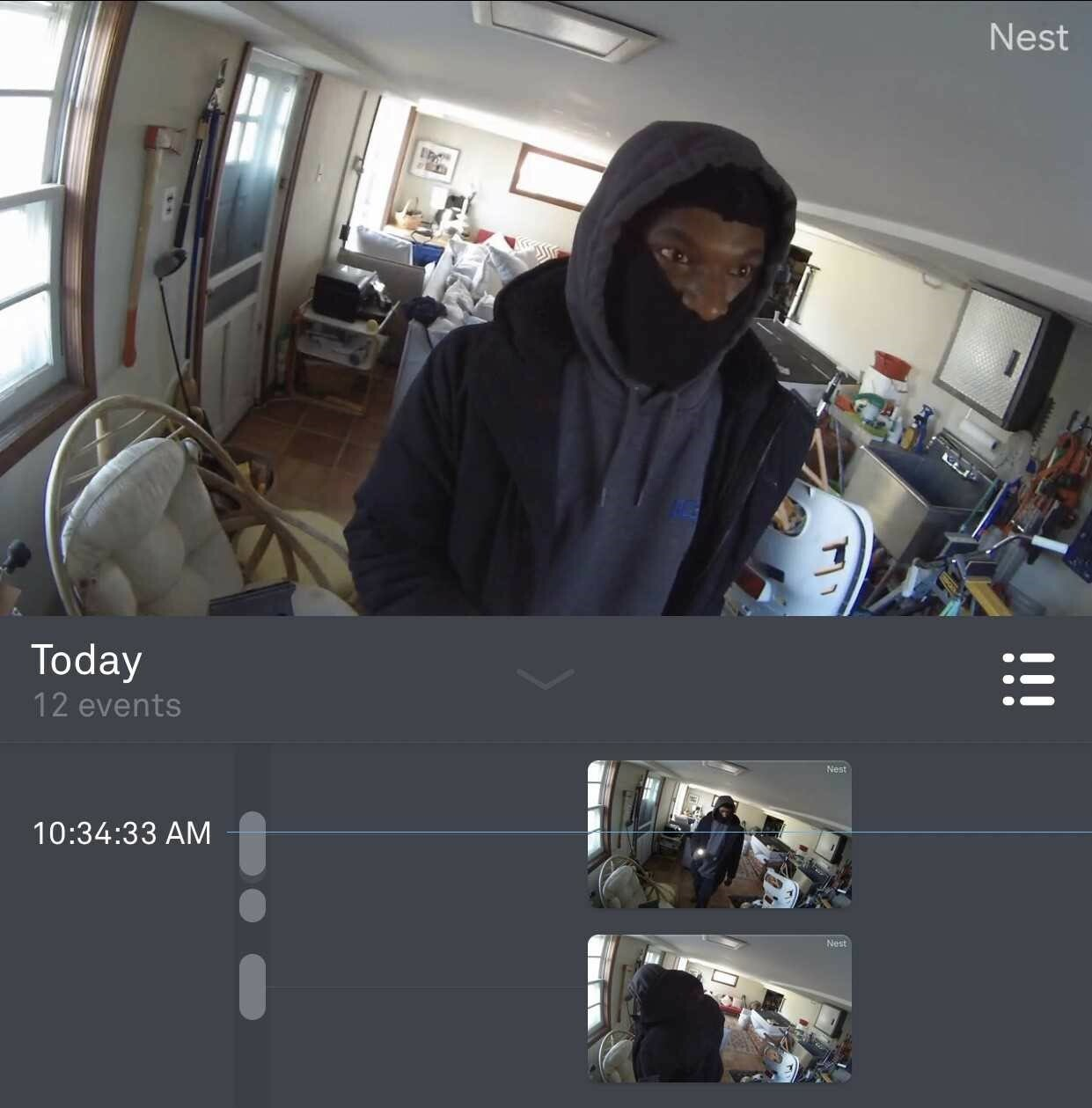 A photo taken from surveillance footage at one of the homes that was burglarized.    EAST HAMPTON TOWN POLICE DEPARTMENT