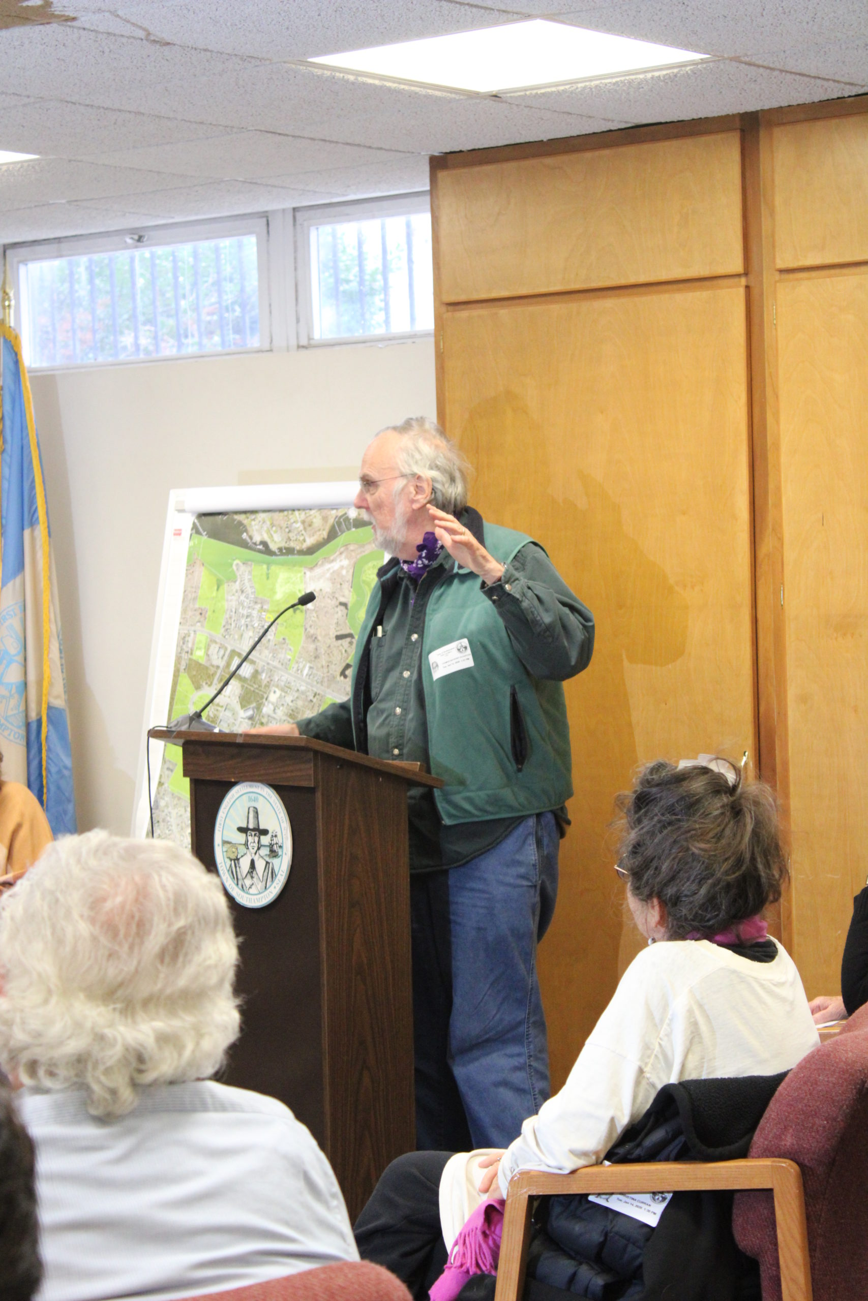 Thomas Oleszczuk of Noyac spoke at the town board meeting on Tuesday regarding the home being built on Sugar Loaf, a sacred site for the Shinnecock Nation.