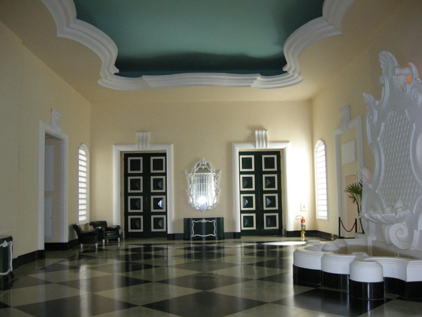 Palácio Quitandinha in Petropolis, Brazil, designed by Dorothy Draper in the Hollywood Regency, or Regency Morderne, style.
