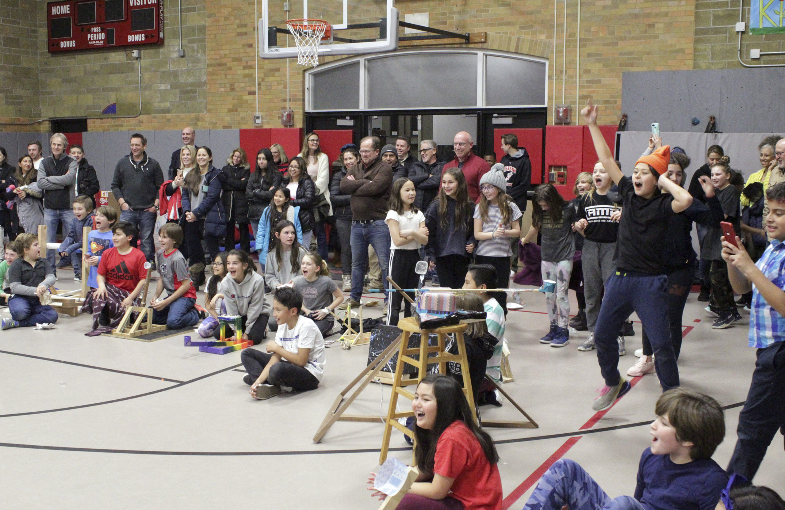 The Sag Harbor Elementary School hosted its fourth and fifth grade Physics Fair last week. The fifth grade class worked in teams to build catapults and compete to see which team's catapult could launch the farthest.    TOM KOCHIE