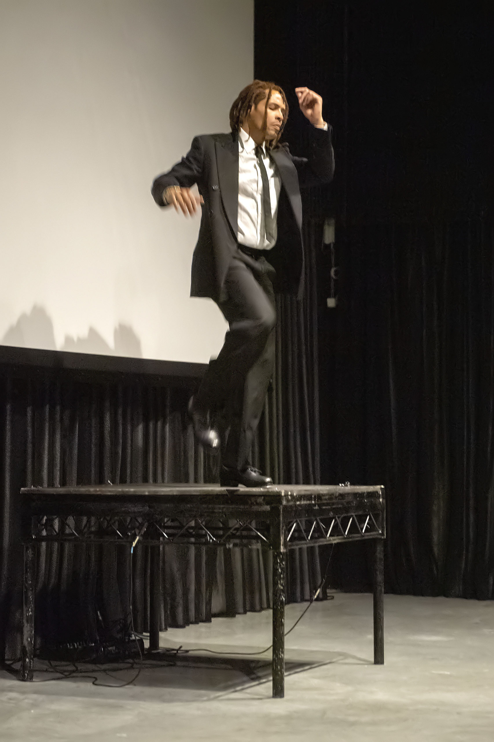 Tap-dancing legend Omar Edwards performs a solo during the