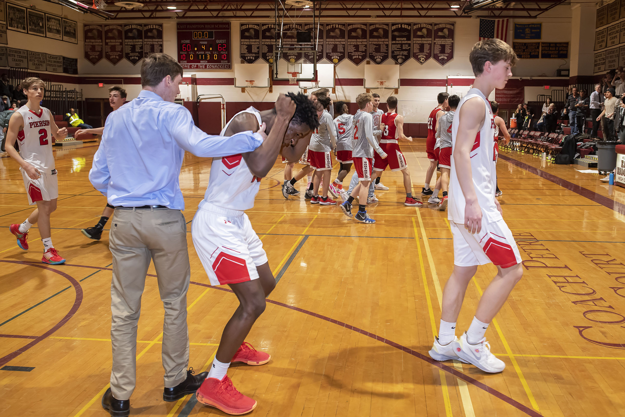 Pierson's Habtamu Coulter shakes his fists in frustration as the Whalers lost to Southold in the Suffolk County Class C Championship at East Hampton High School on Friday night.