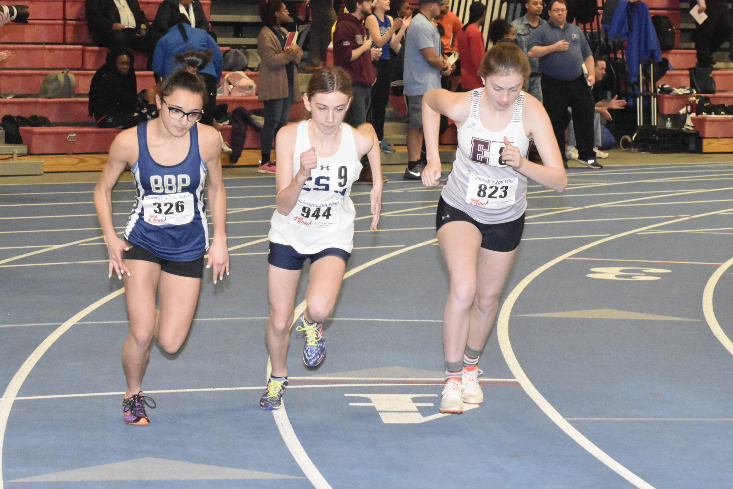 East Hampton's Ava Engstrom starts the 1,500-meter race.