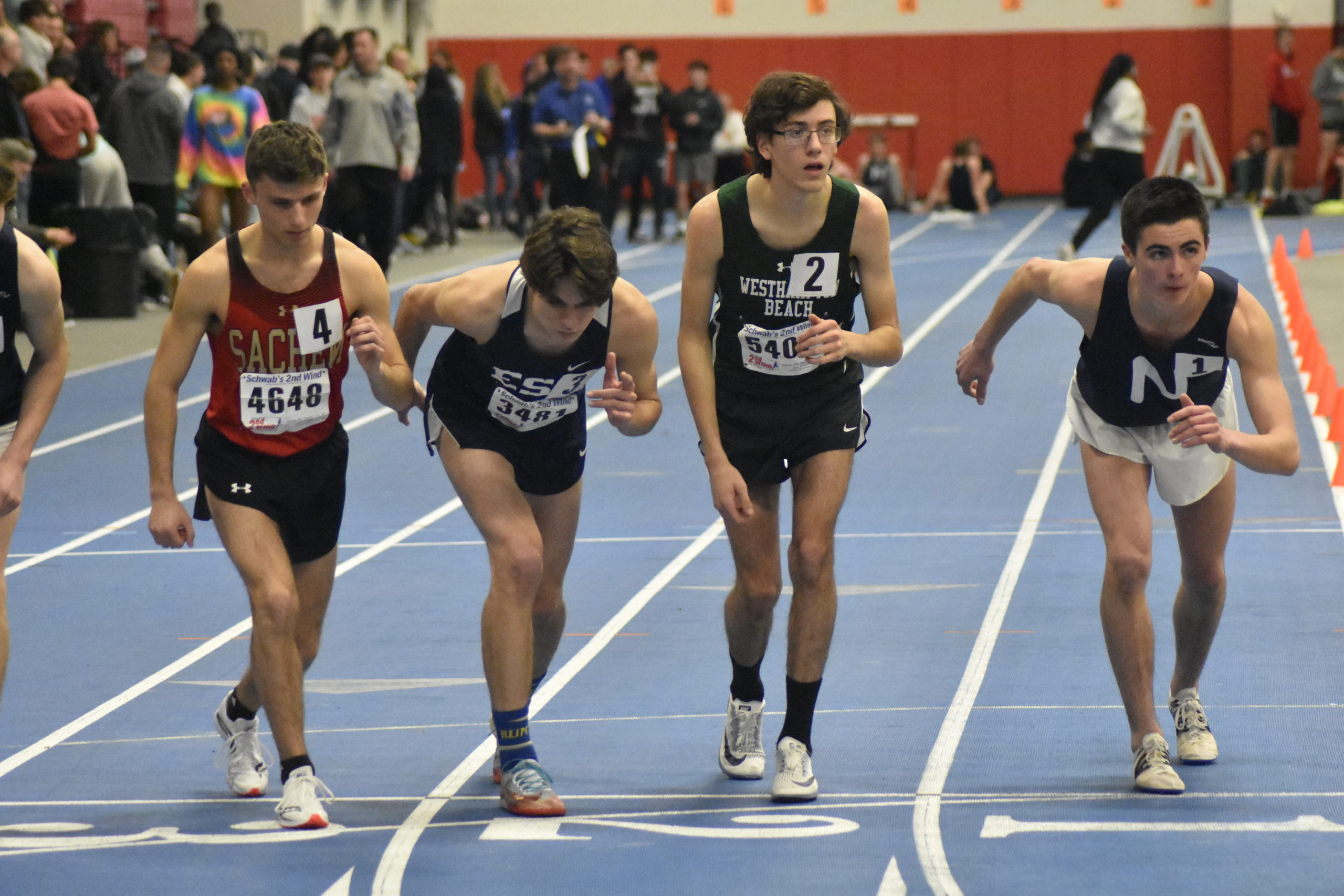 Gavin Ehlers of Westhampton Beach awaits the gun at the start of the 3,200-meter race.  DREW BUDD