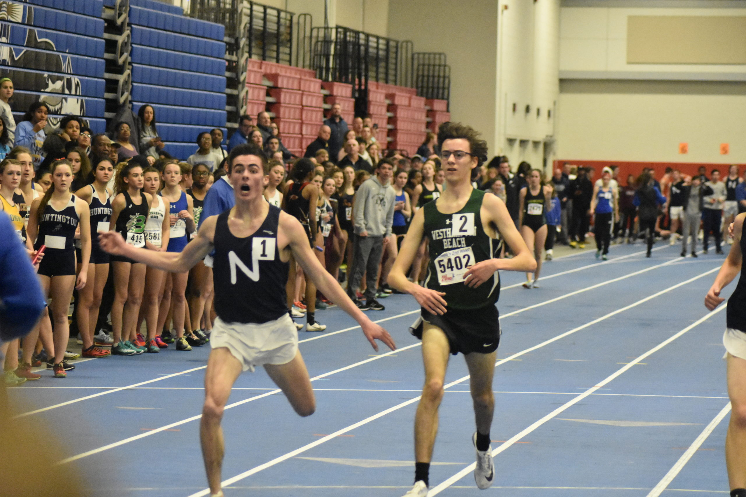 Northport senior Thomas Fodor edged Westhampton Beach sophomore Gavin Ehlers for first place in the 3,200-meter race.