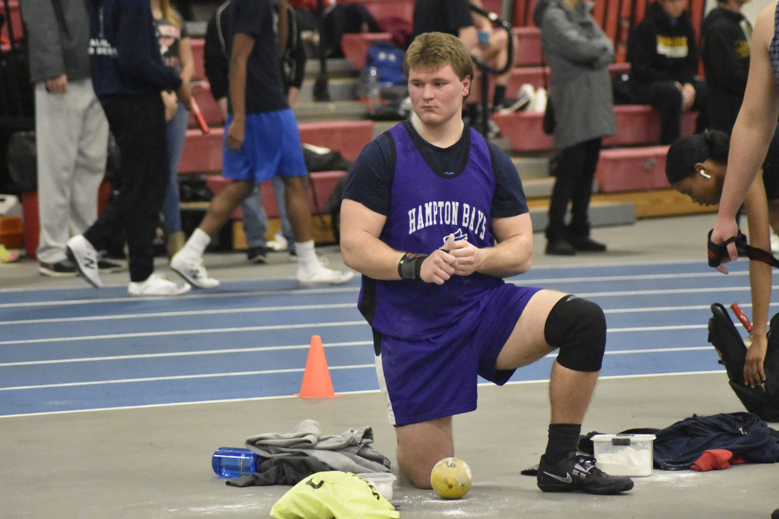 Hampton Bays senior Quinn Smith placed second in the county in the shot put and will be heading to the state meet next month