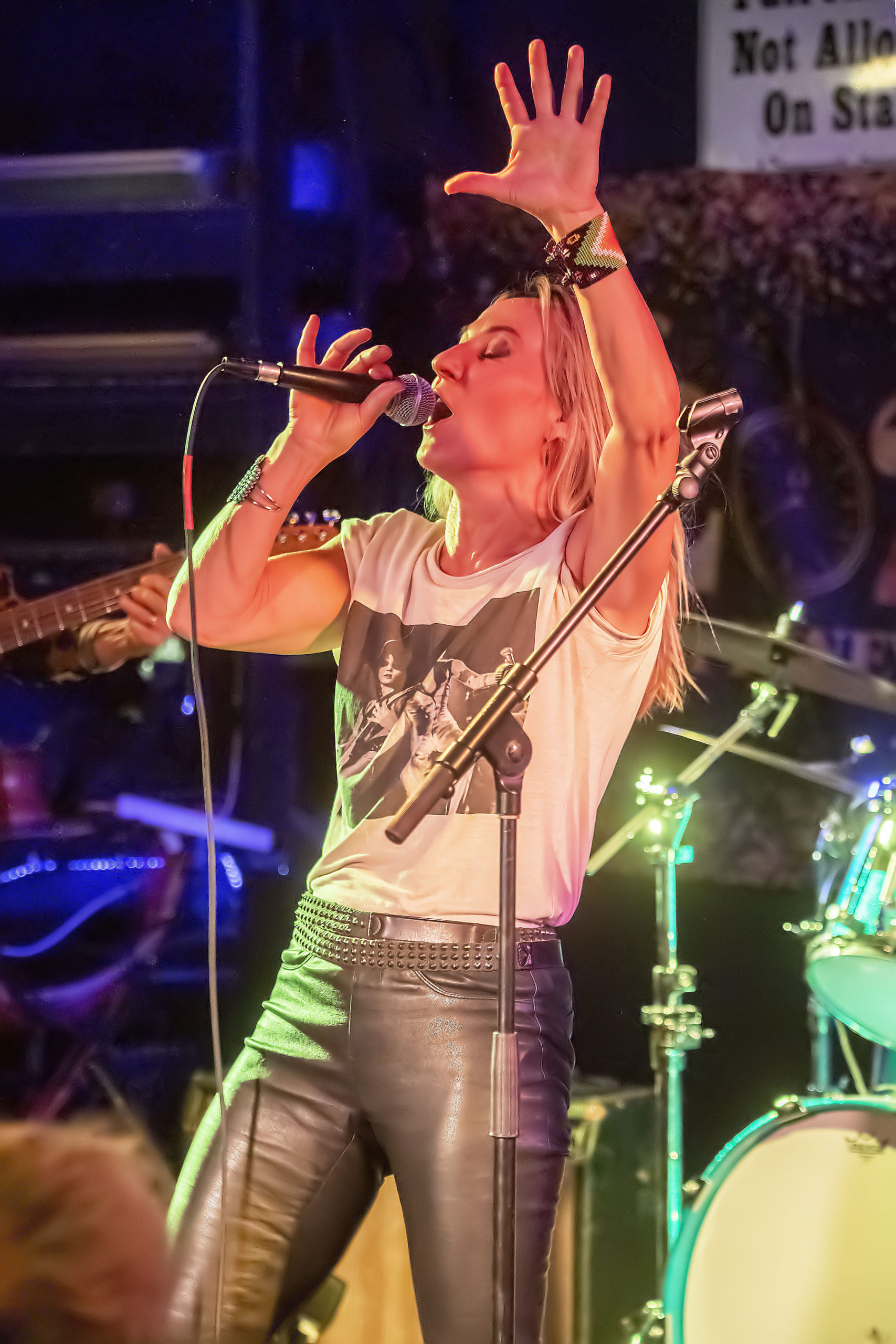 Lauren Hannah of the band Minxx rocks out during the 4th Annual Battle of the Fantasy Girl Bands to benefit the Neo-Political Cowgirls that was held at the Stephen Talkhouse in Amagansett on Saturday night.  MICHAEL HELLER