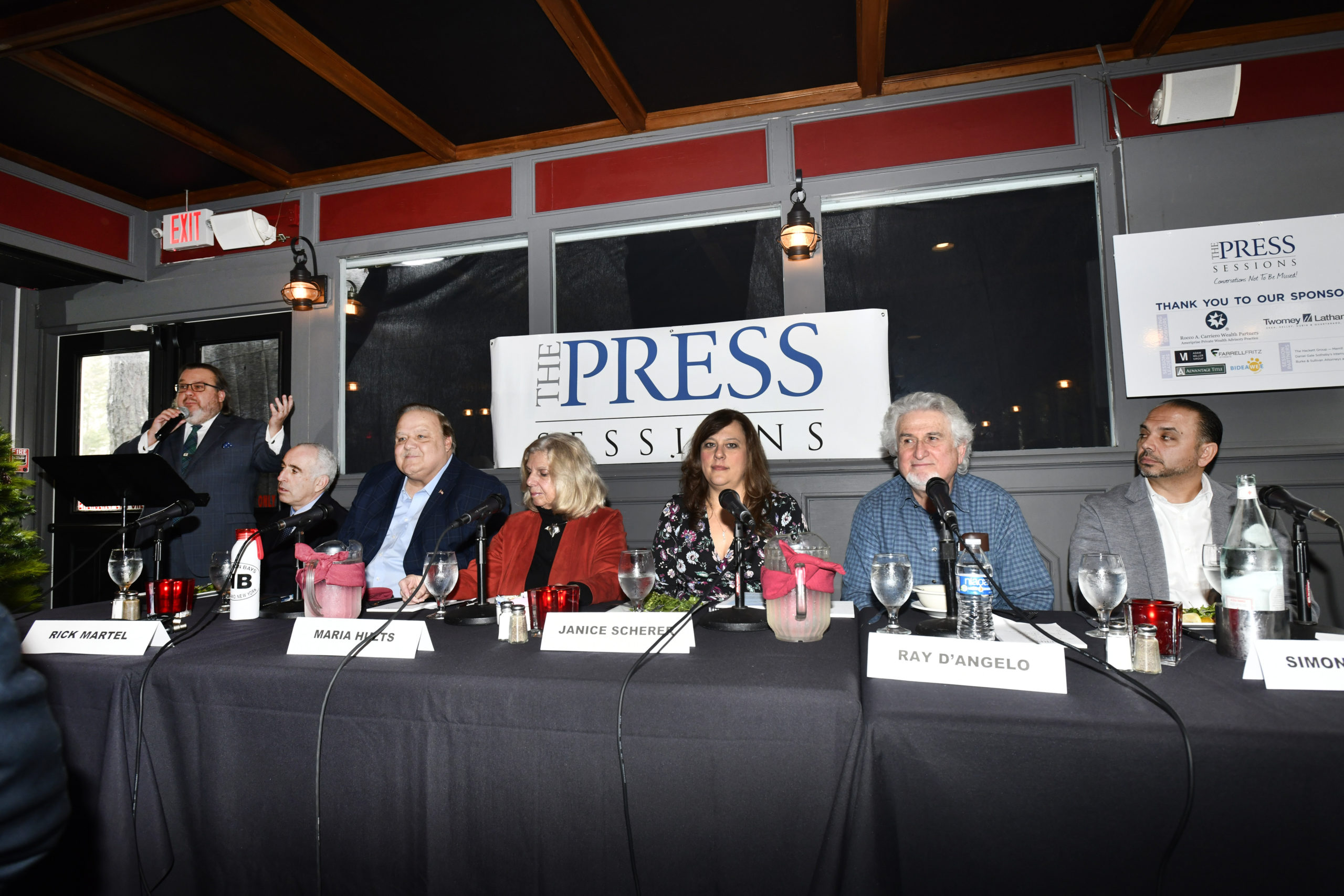 The panel for the Press Session at 1 North Steakhouse in Hampton Bays.  DANA SHAW