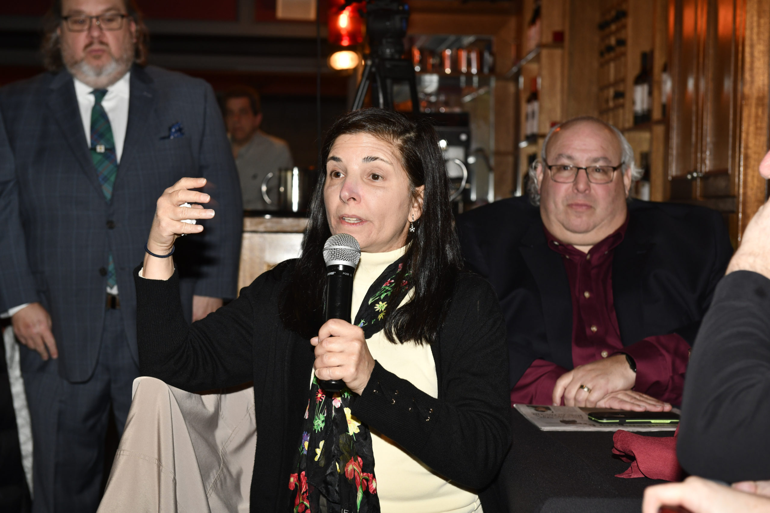 Gayle Lombardi asks the panel a question.  DANA SHAW