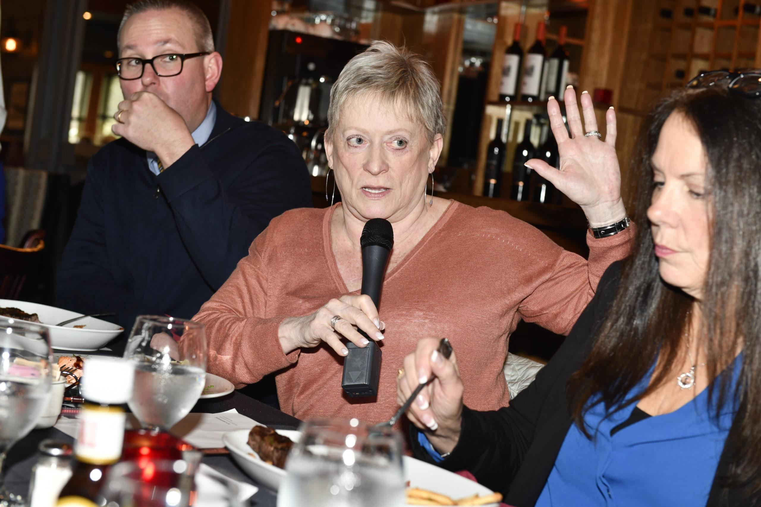 Joyce King poses a question.  DANA SHAW