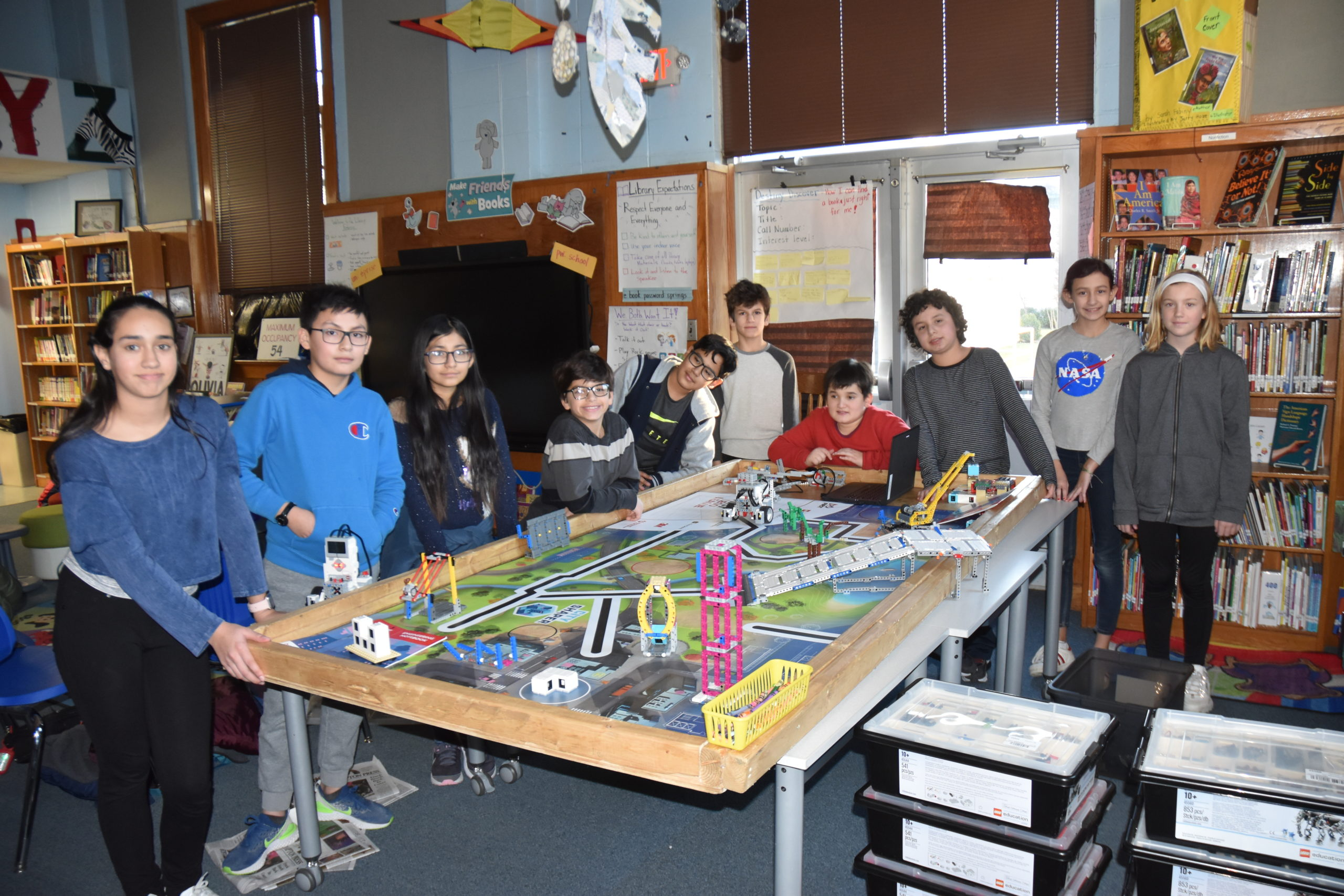 Members of the Springs School's Bionic Bonac Builders gathered in the school library last week. STEPHEN J. KOTZ