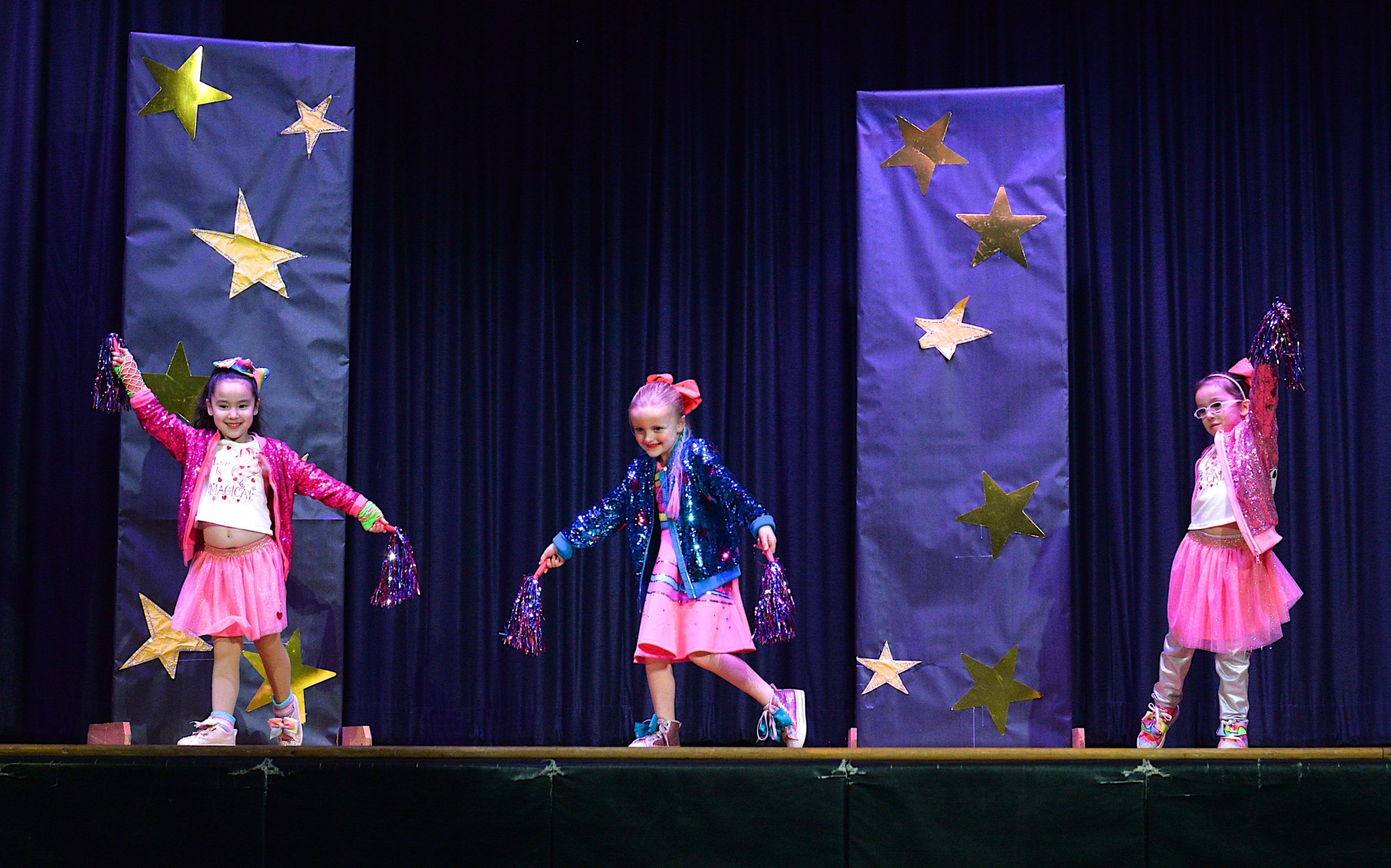 The Montauk School students were invited to participate in a Variety Show on Friday evening. Tippi Tyler, Tallulah Muse and Gina Mancinelli in their act.   KYRIL BROMLEY