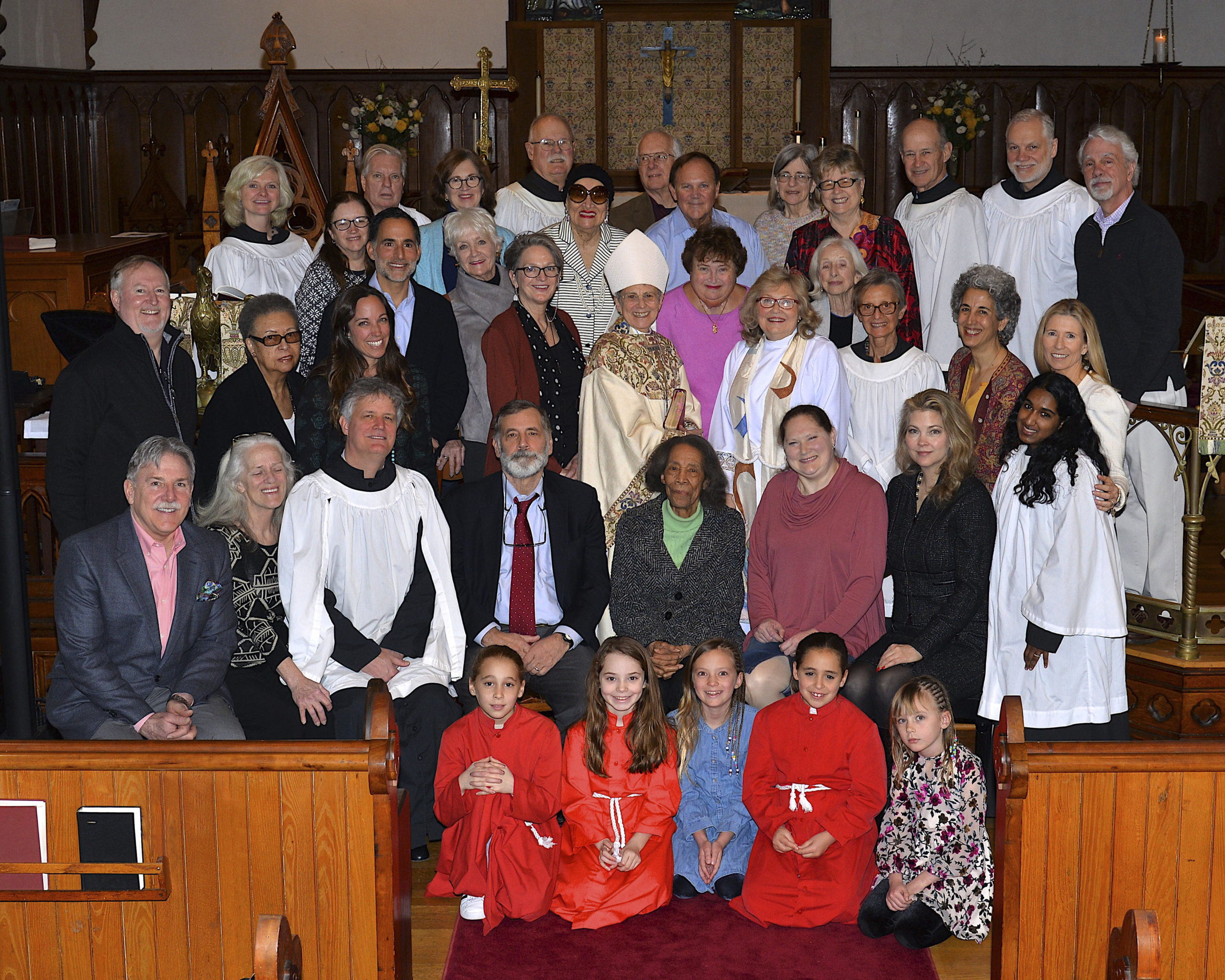 """On Sunday February 23rd, the congregation of Christ Episcopal Church at 5 Hampton St. welcomed The Rt Rev. Geralyn Wolf, Assisting Bishop of the Episcopal Diocese of Long Island. She is pictured with the attendees at Sunday's 10 am service. Following the service the Bishop met with the Church Vestry over lunch to discuss plan's for the Church's 175th anniversary celebration this spring and plans for the Church's feeding program, Community Cafe."""" KYRIL BROMLEY"""