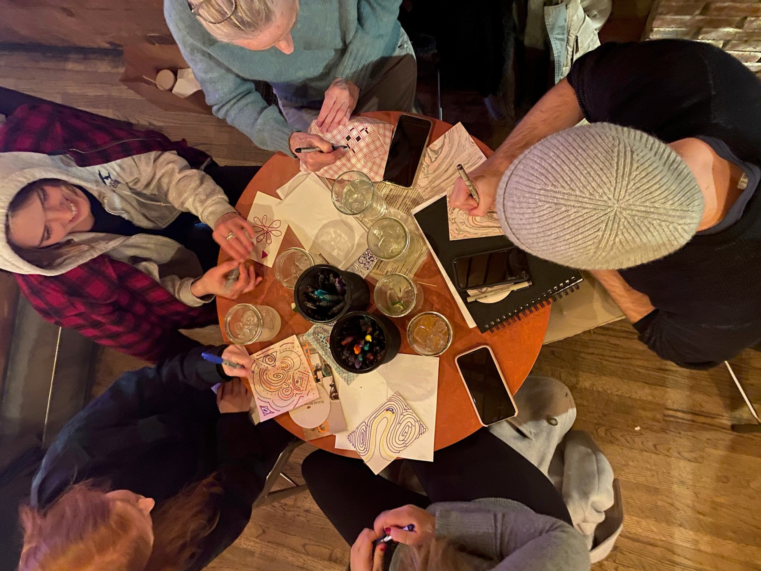 A group of budding artists gather for a recent drink and draw session at Townline BBQ.