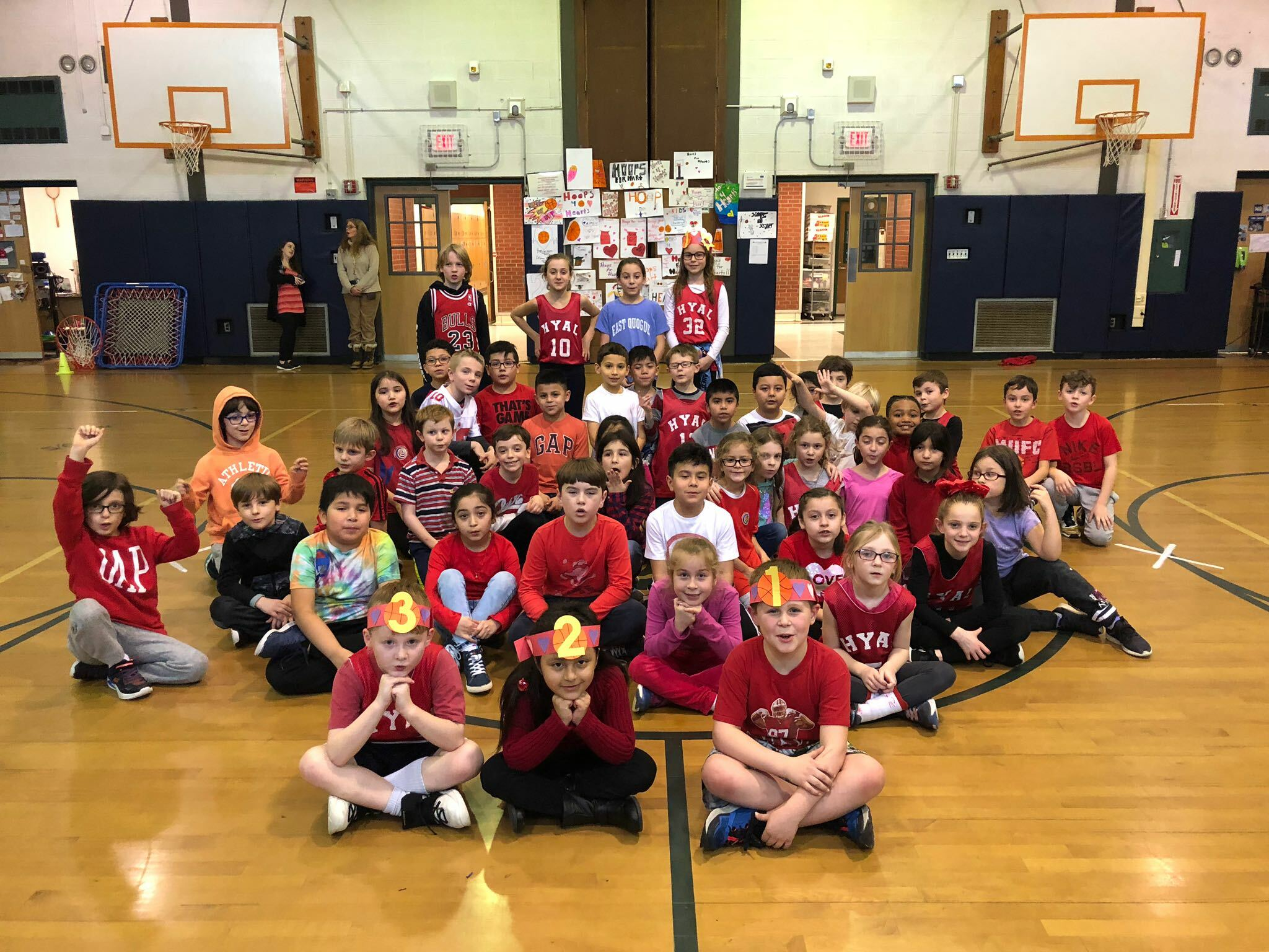East Quogue Elementary School students recently participated in the Hoops for Heart challenge to benefit the American Heart Association, raising nearly $300.