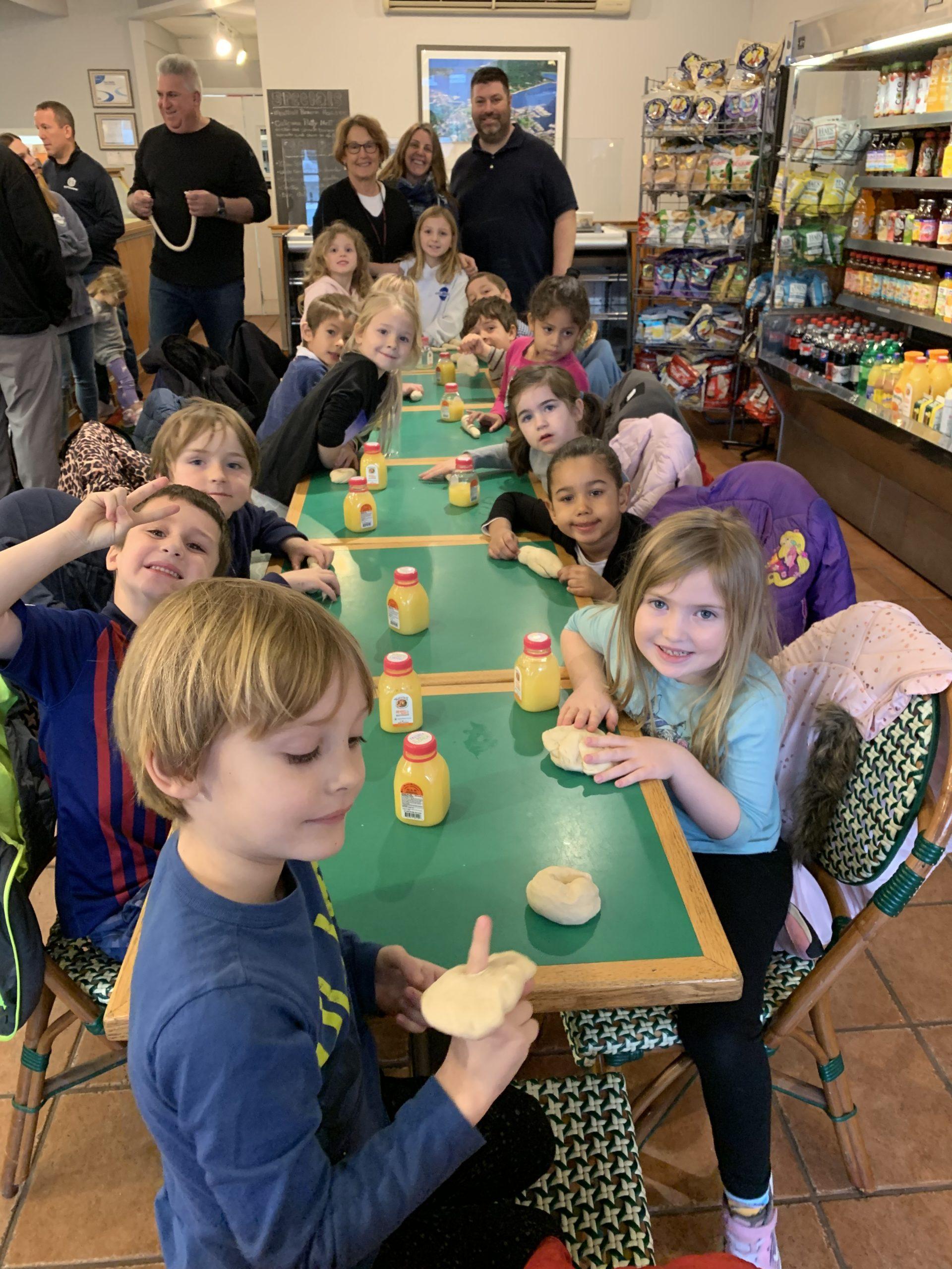 Goldberg's Sag Harbor owner Dan Mitchell hosted Susan Raebeck's kindergarten class for a bagel-making class on Thursday, February 13.