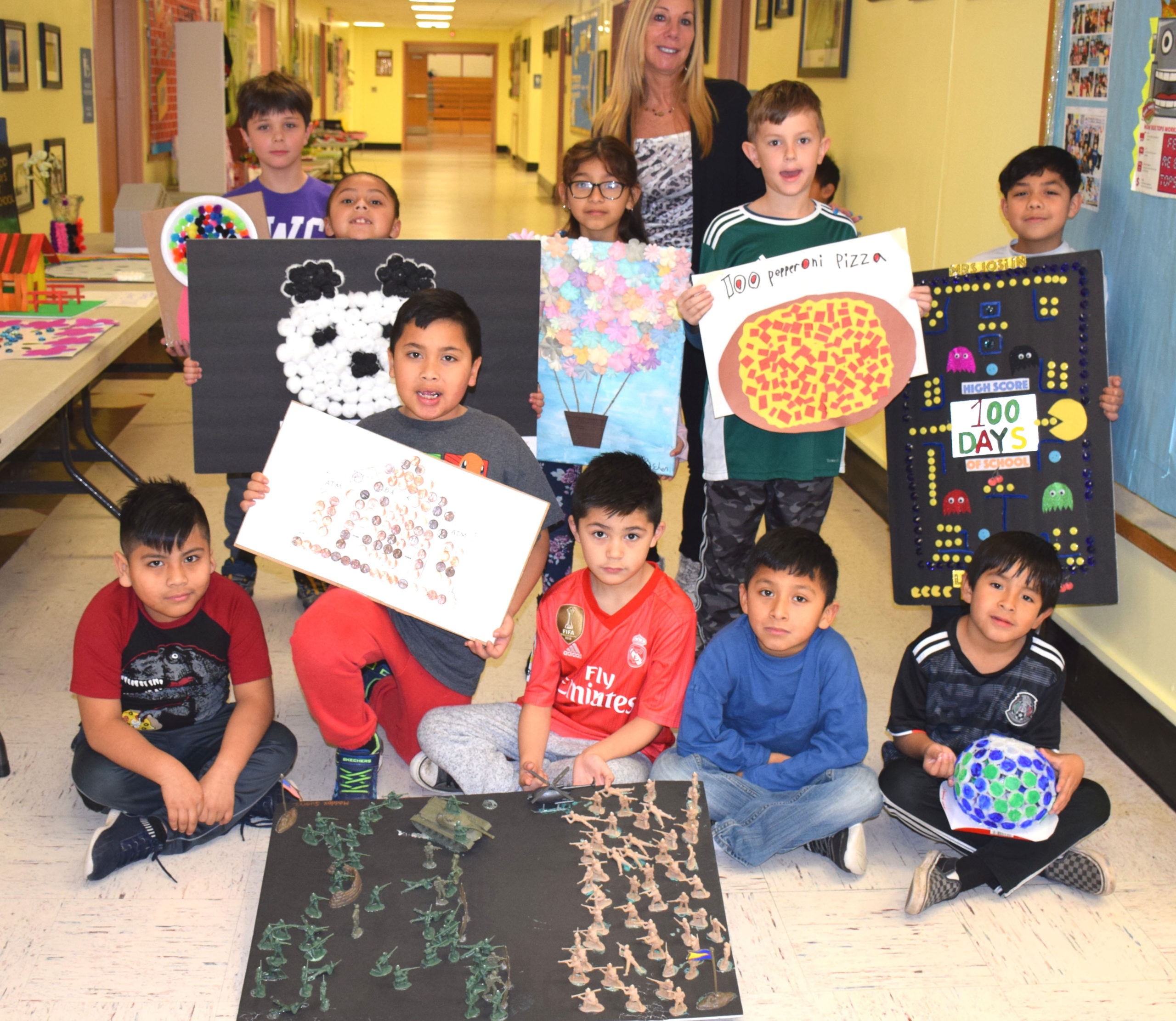 Second-graders at Hampton Bays Elementary School marked 100 days of school by creating colorful and creative projects. Each project included 100 items of the student's choosing.