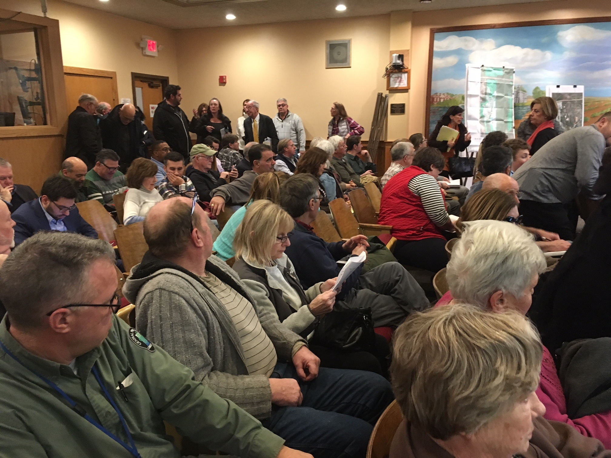 Supporters and opponents filled the board room at Riverhead Town Hall on February 19. KITTY MERRILL
