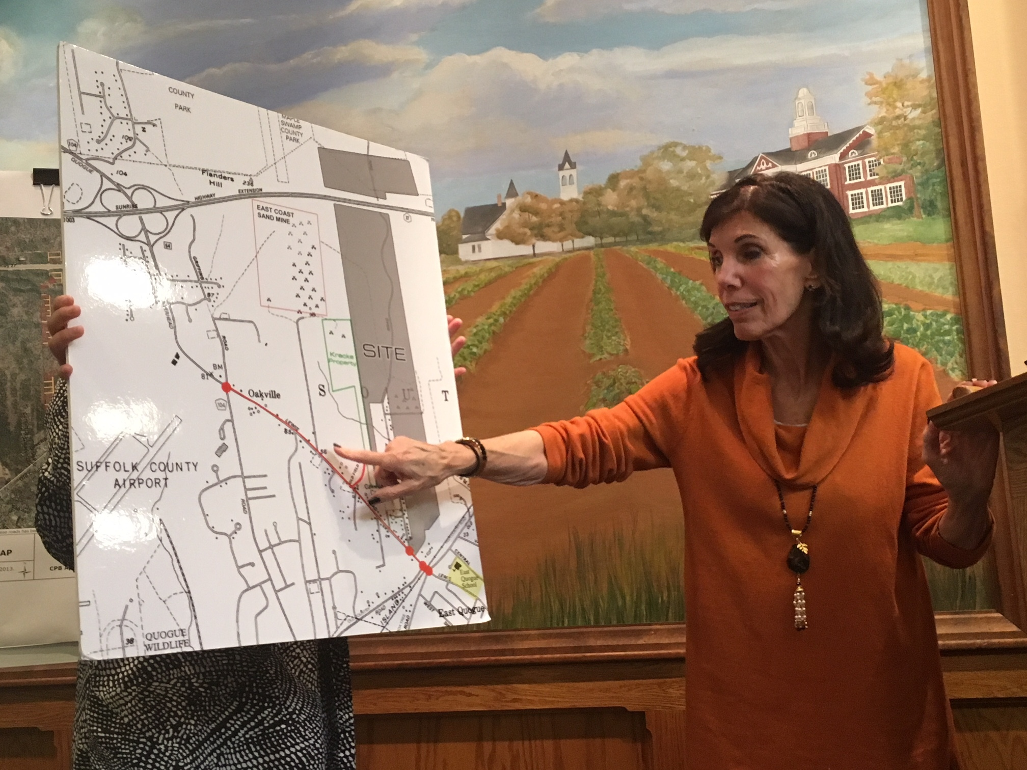 Andrea Spilka focused on the traffic the project might bring to Lewis Road and East Quogue. KITTY MERRILL