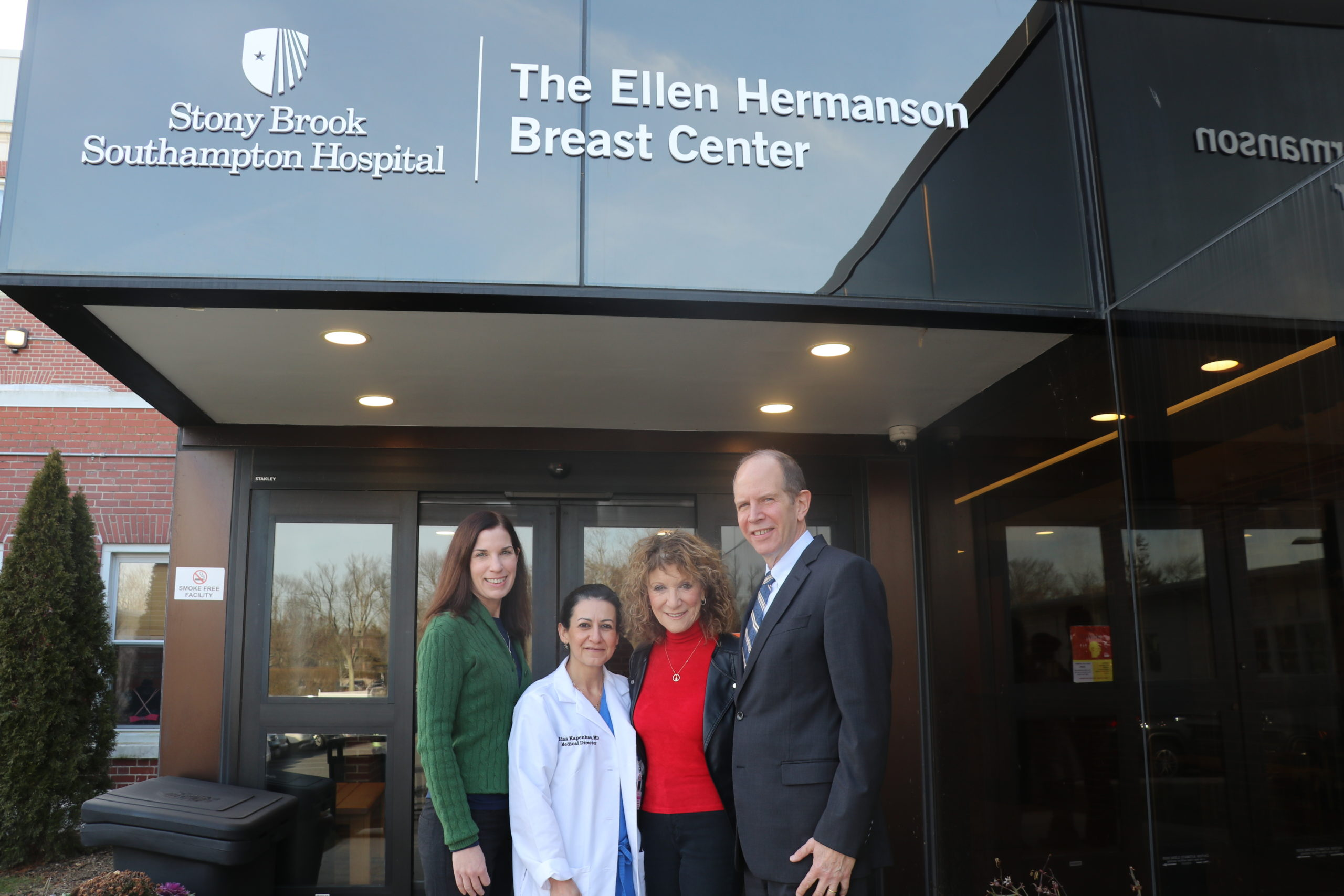 The Ellen Hermanson Foundation recently announced that during 2019, it has awarded $326,000 in grants to Stony Brook Southampton Hospital. From left, Anne Tschida Gomberg, executive director, The Ellen Hermanson Foundation; Edna Kapenhas, MD, director of Breast Surgery and medical director of The Ellen Hermanson Breast Center at Stony Brook Southampton Hospital; Julie Ratner, co-founder and chairwoman of The Ellen Hermanson Foundation; and Robert Chaloner, chief administrative officer, Stony Brook Southampton Hospital.