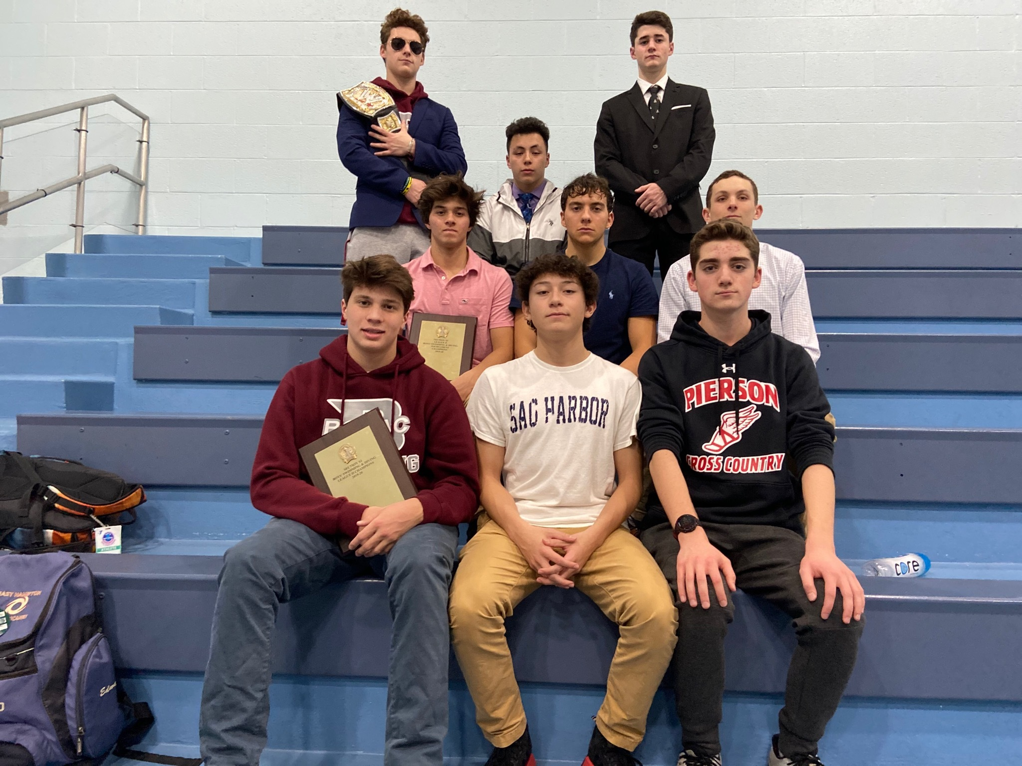 Pierson swimmers who helped the East Hampton boys swimming team win its second straight League II Championships.