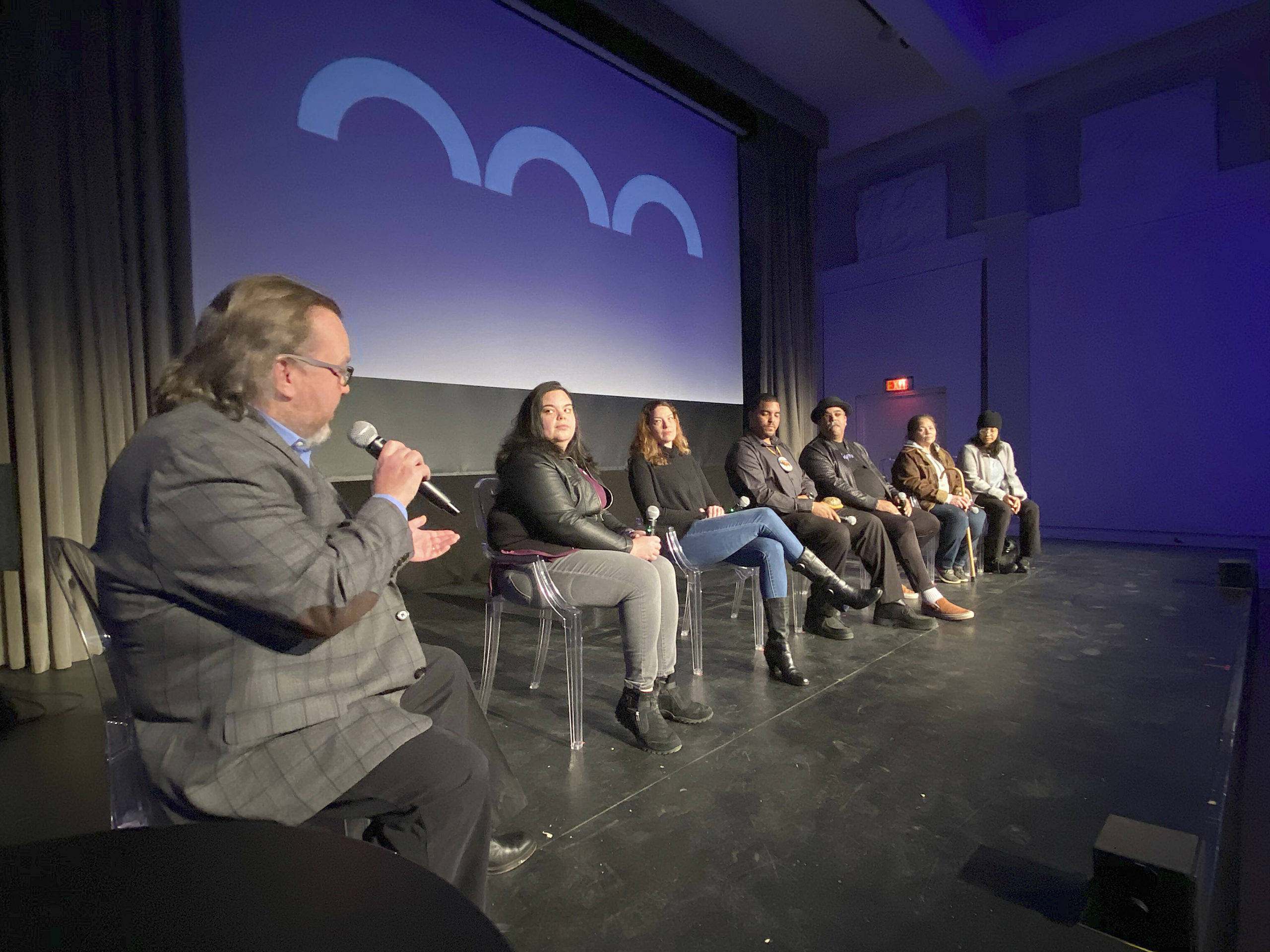 The panel fields questions at the screening of