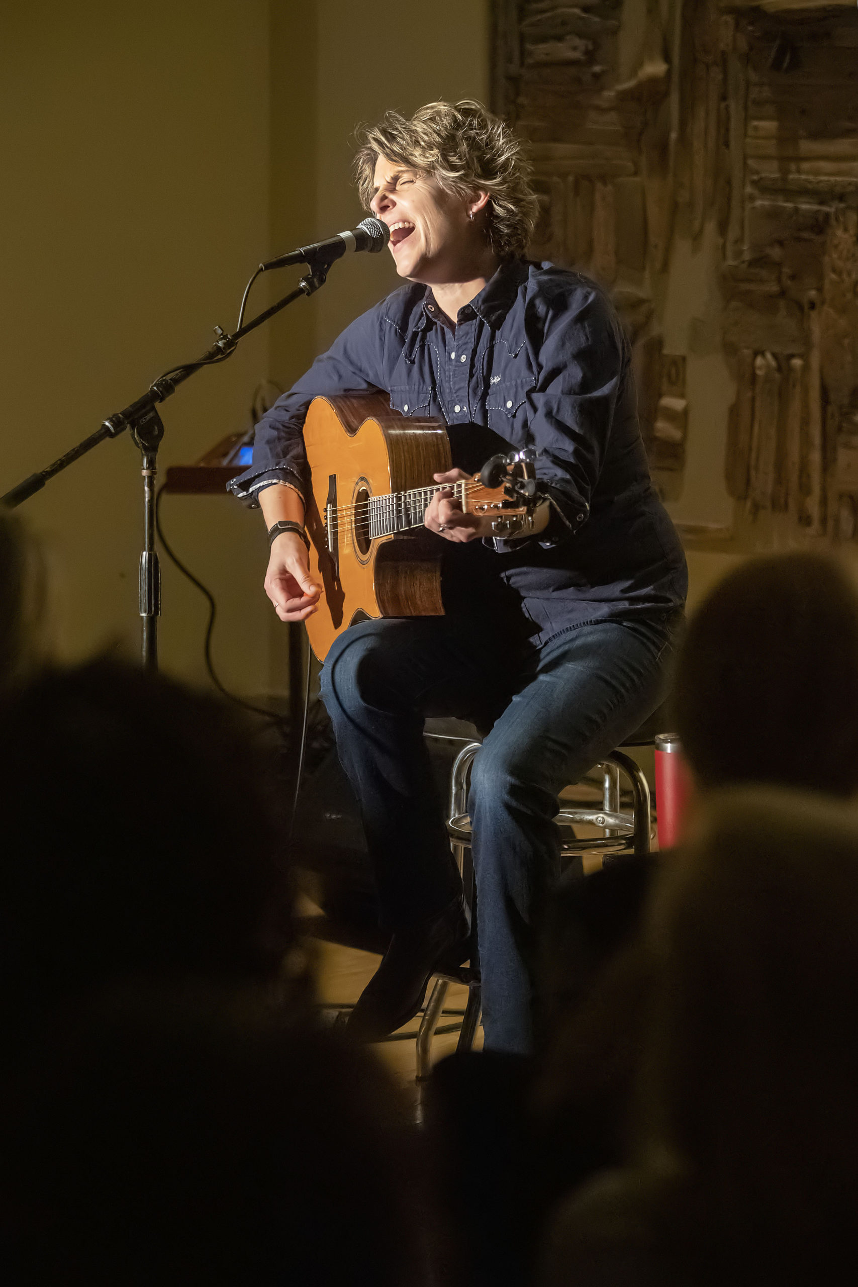 Inda Eaton performing during Songwriters Share at the Unitarian Universalist Meeting House in Bridgehampton in February, 2019.