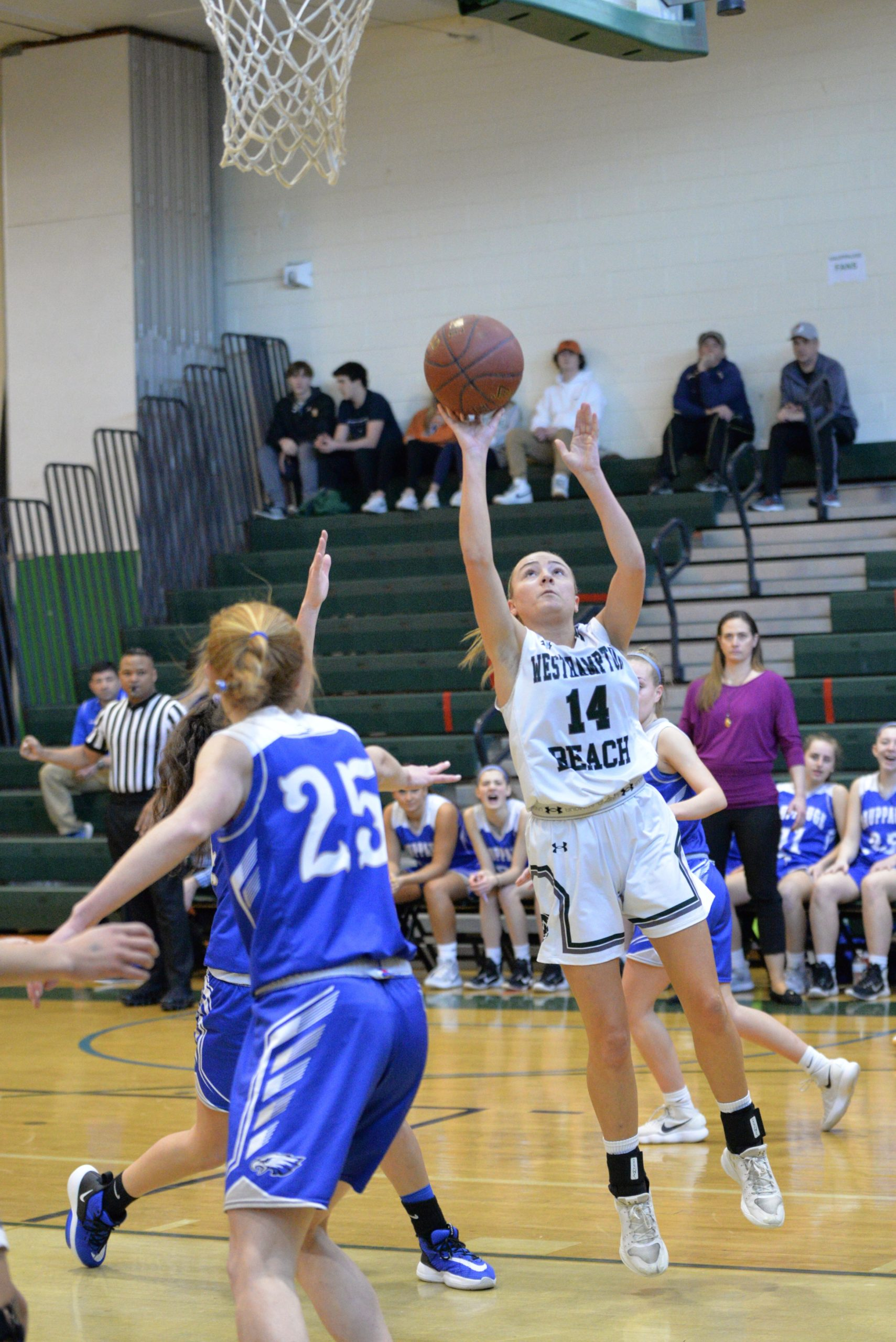 Westhampton Beach senior Isabelle Smith gets some inside leverage and scores.