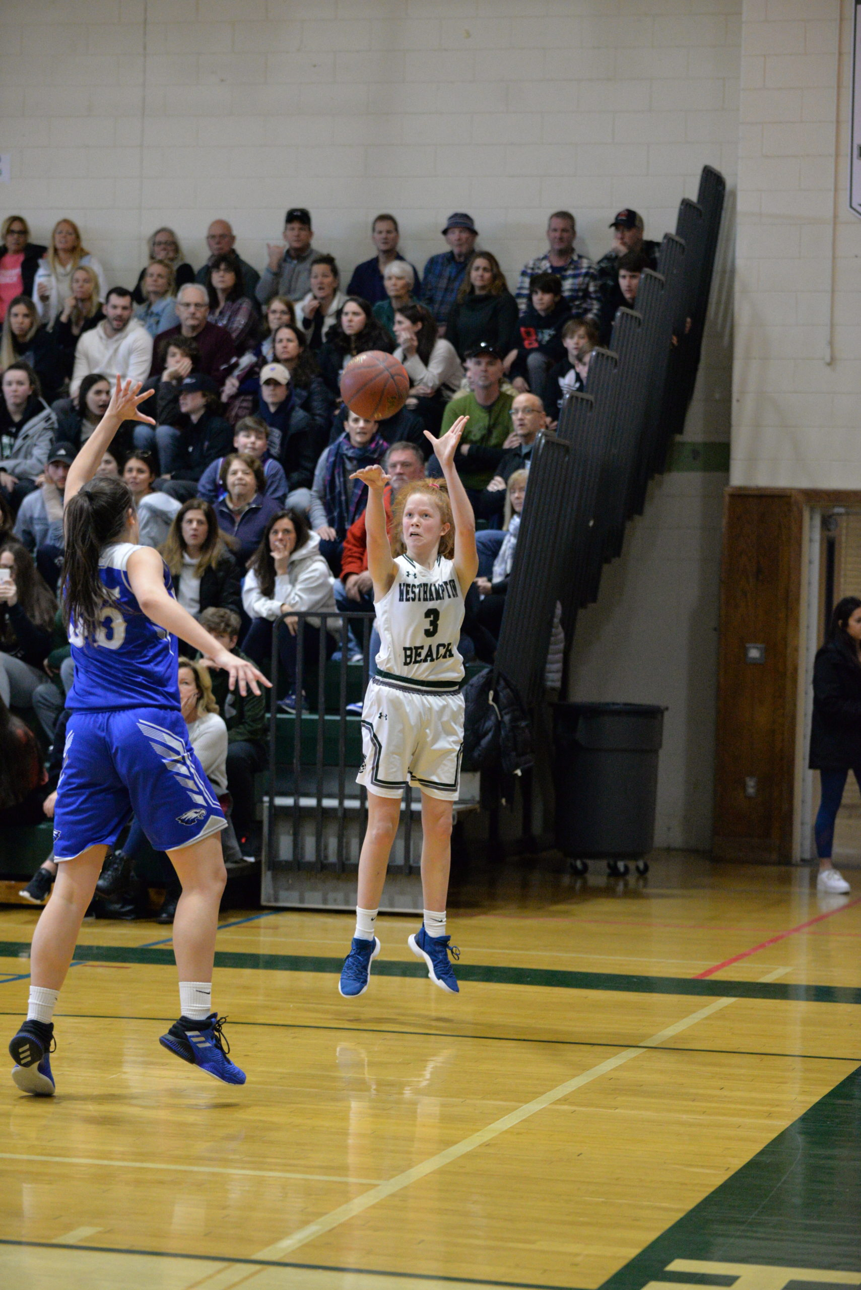 Westhampton Beach sophomore Molly McCarthy hit a big three late that tied the game at 47 and help spark a run.