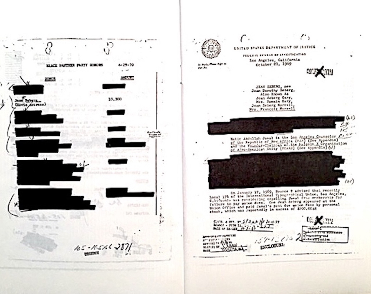 Margia Kramer's artwork featuring a black and white photo print of pages from actress Jean Seberg's FBI file.