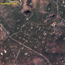 Aerial photos of the Northwest area of East Hampton show the extent of deforestation from the cutting of trees infested with pine beetles since 2017.