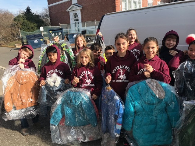 Members of the Southampton Elementary School Student Council recently collected numerous gently used coats as part of an annual community service project to help those in need. The coats were all dry-cleaned by Good Ground Cleaners in Hampton Bays and delivered to the Heart of the Hamptons. The project is one of many that the Student Council has worked on this school year.