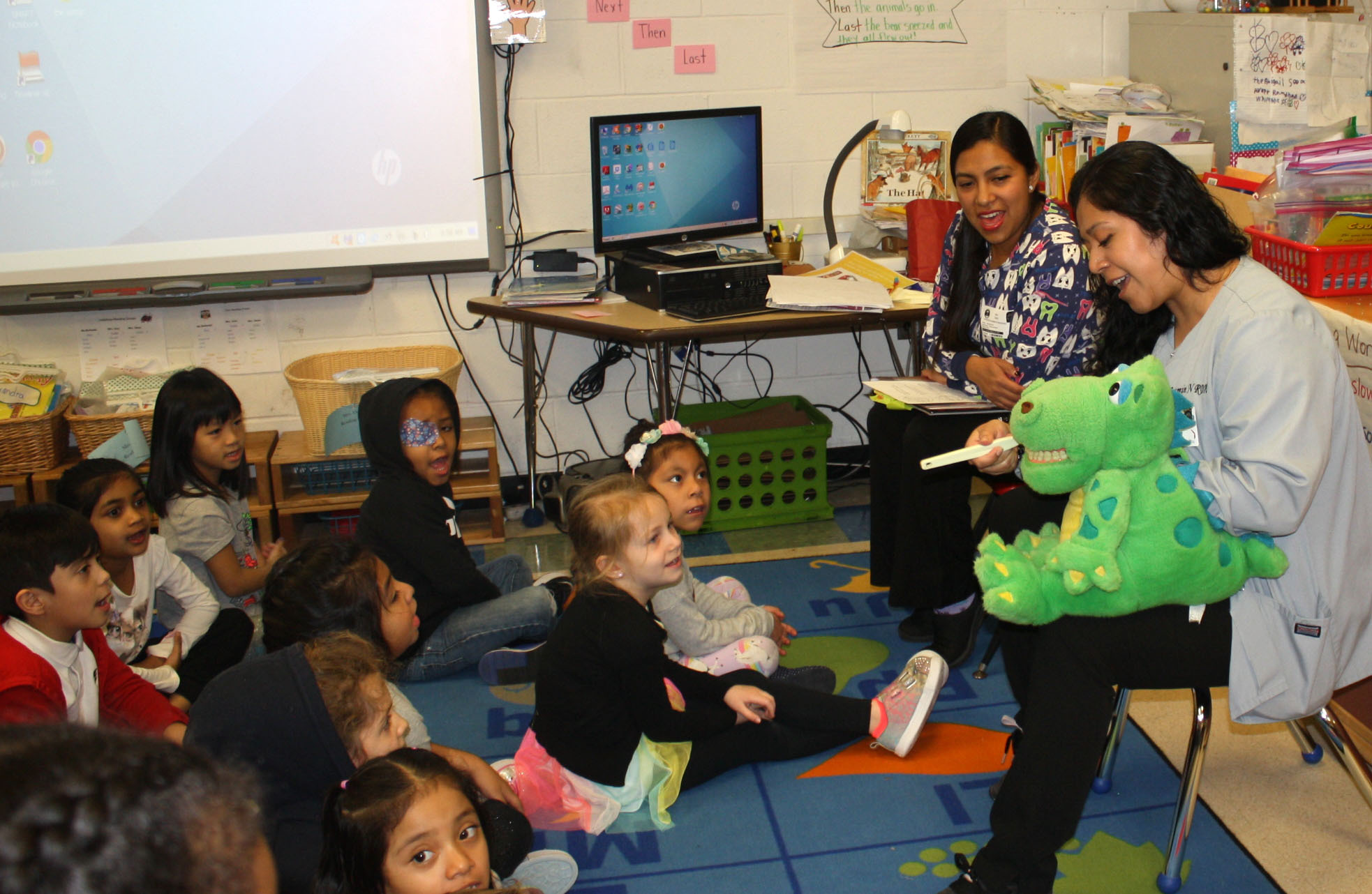 Kindergartners at Southampton Elementary School celebrated Dental Health Month on February 6 by taking part in an oral hygiene lesson taught by representatives of Hampton Pediatric Dental Associates.