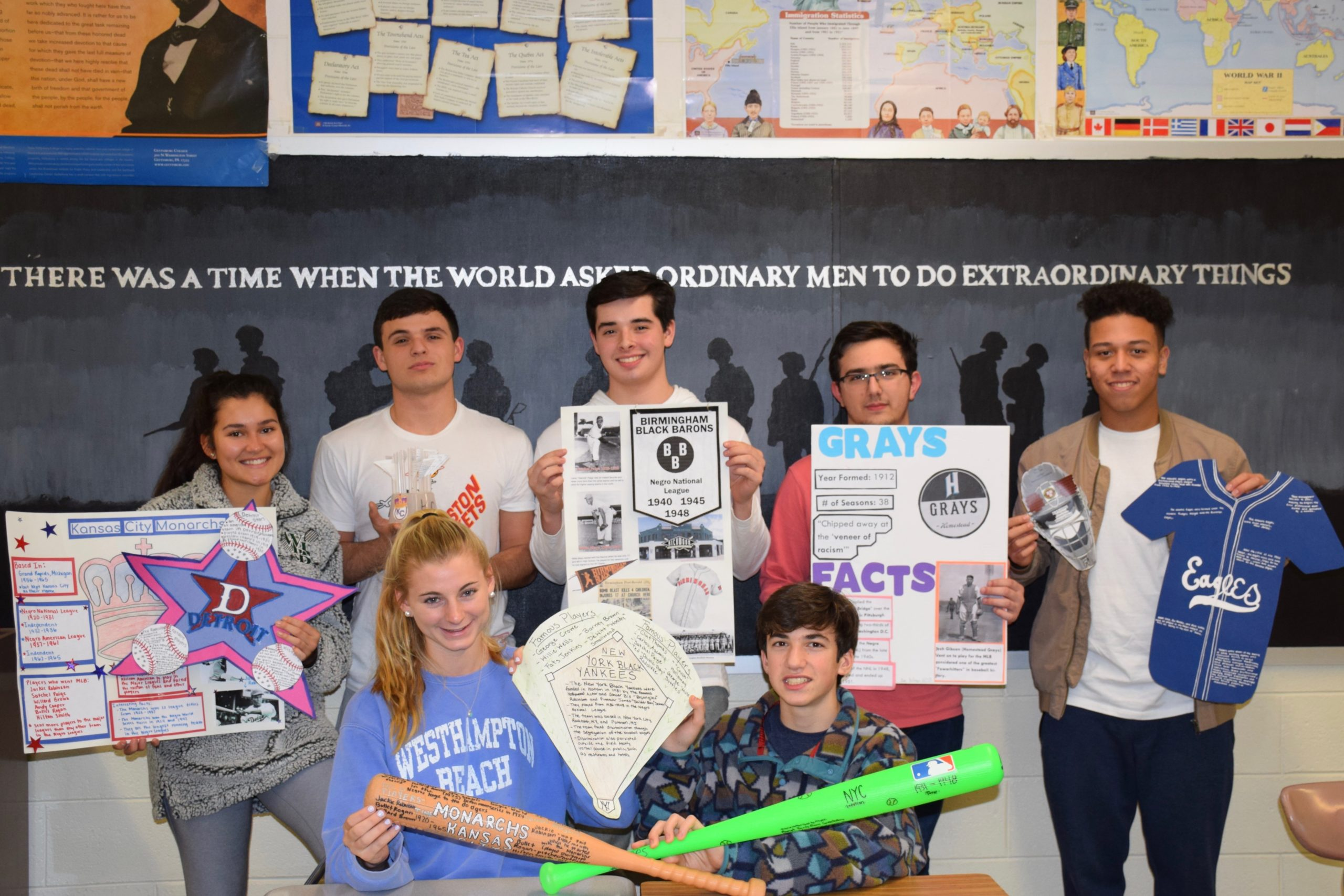 AP U.S. History students at Westhampton Beach High School recently marked Black History Month by researching the Negro Baseball League and creating projects to display what they learned. Along with team names and player information, the projects explored the discrimination that the league members had faced.